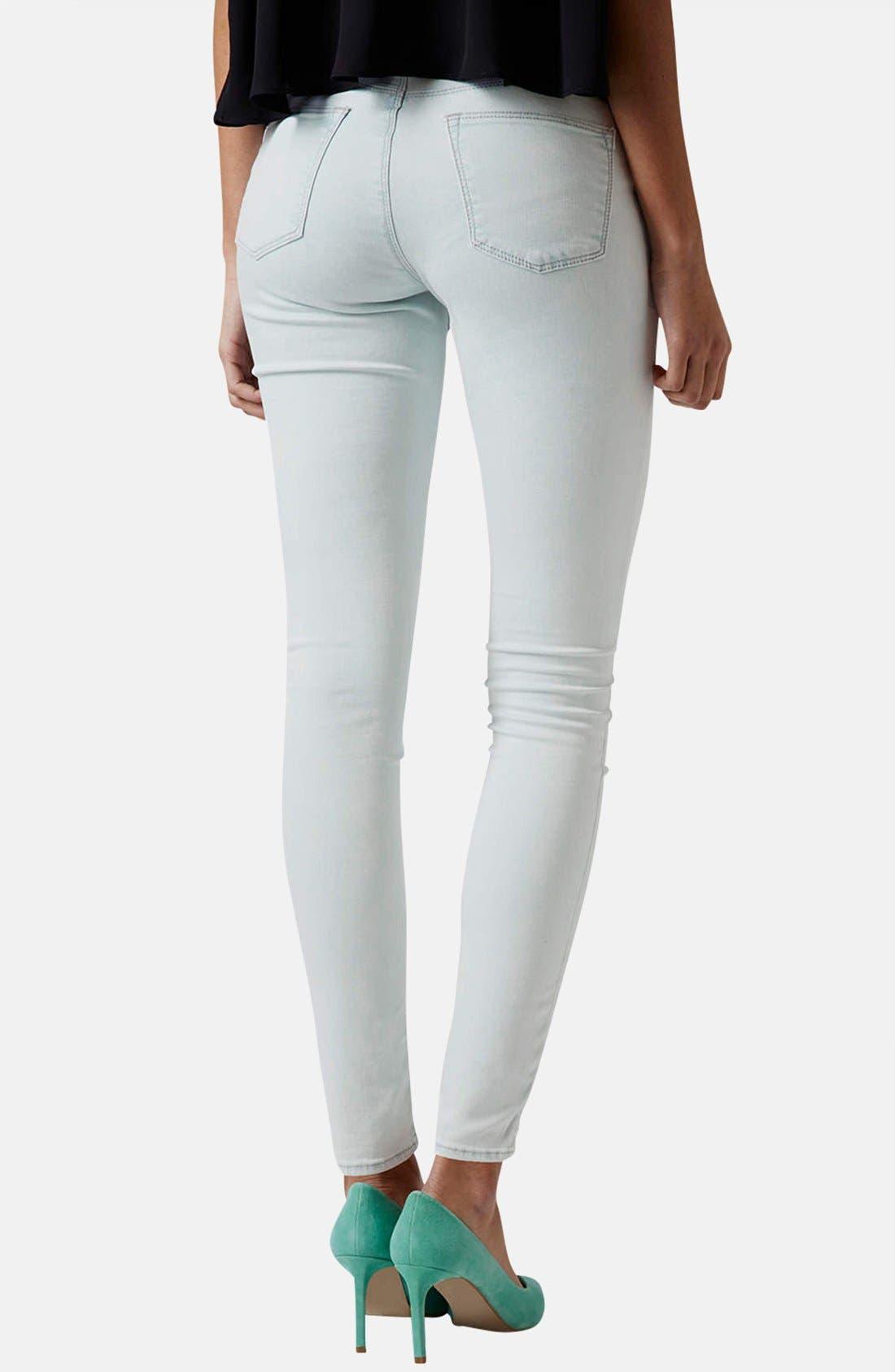 Alternate Image 2  - Topshop Moto 'Leigh' Mid Rise Skinny Jeans (Light Denim)