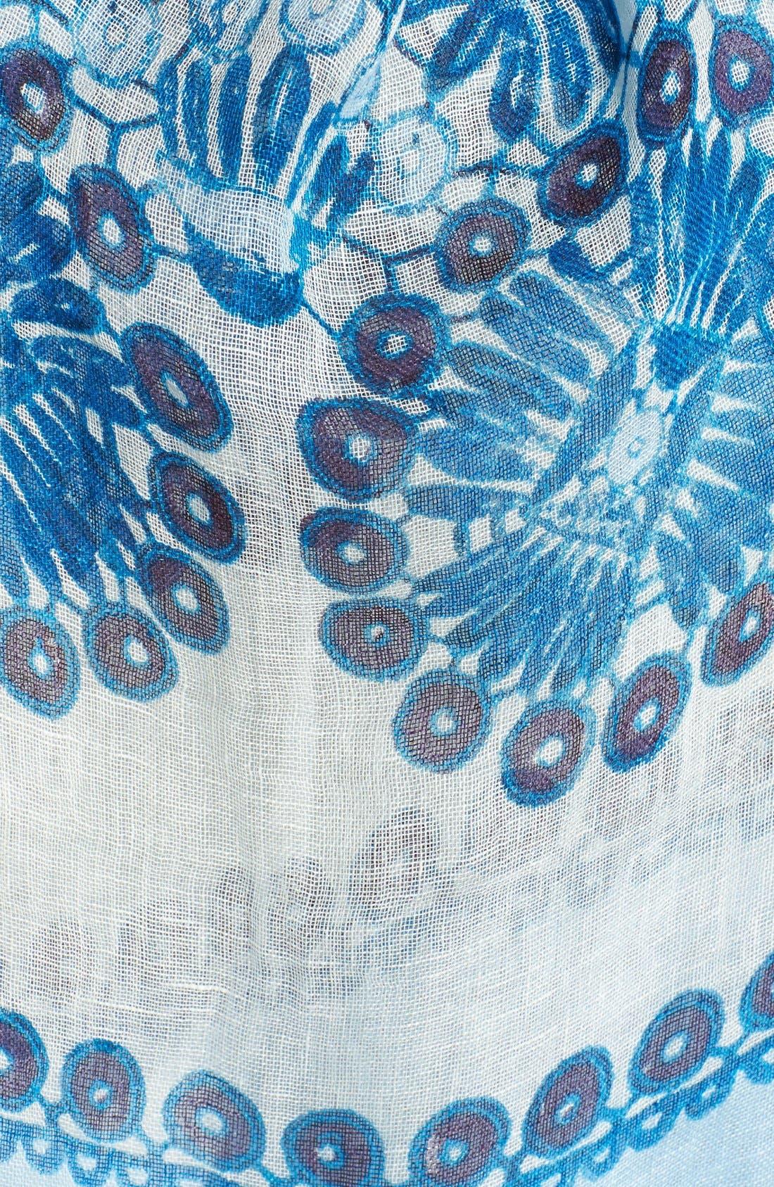 Alternate Image 2  - Tory Burch 'Printed Crochet' Linen Scarf