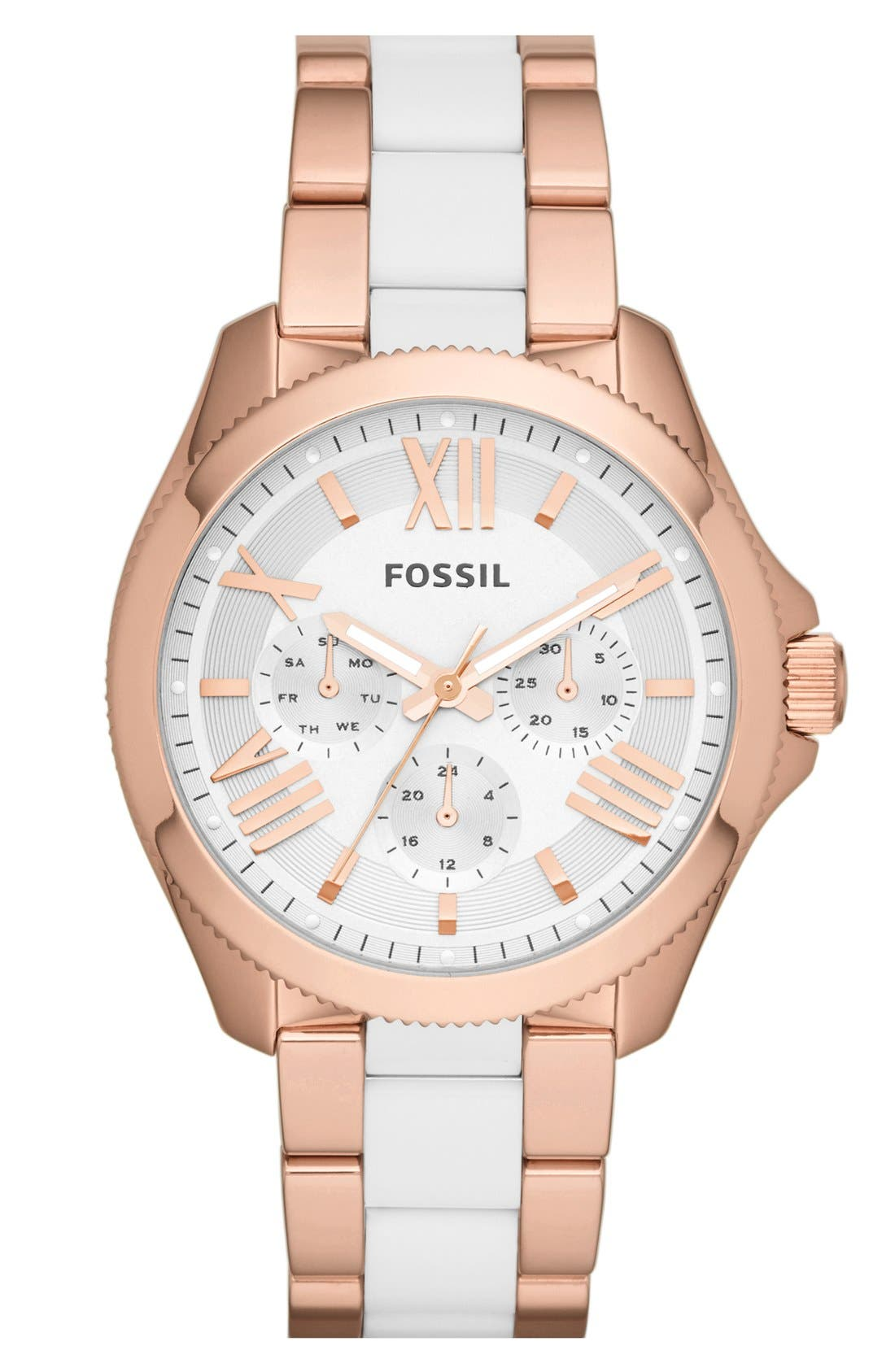 Main Image - Fossil 'Cecile' Multifunction Resin Link Bracelet Watch, 40mm