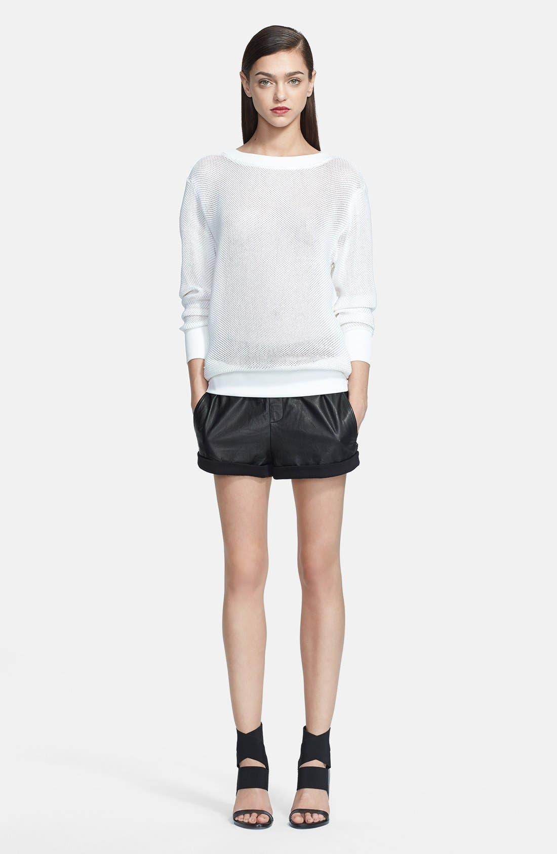 Alternate Image 1 Selected - Helmut Lang Sweater & Leather Shorts