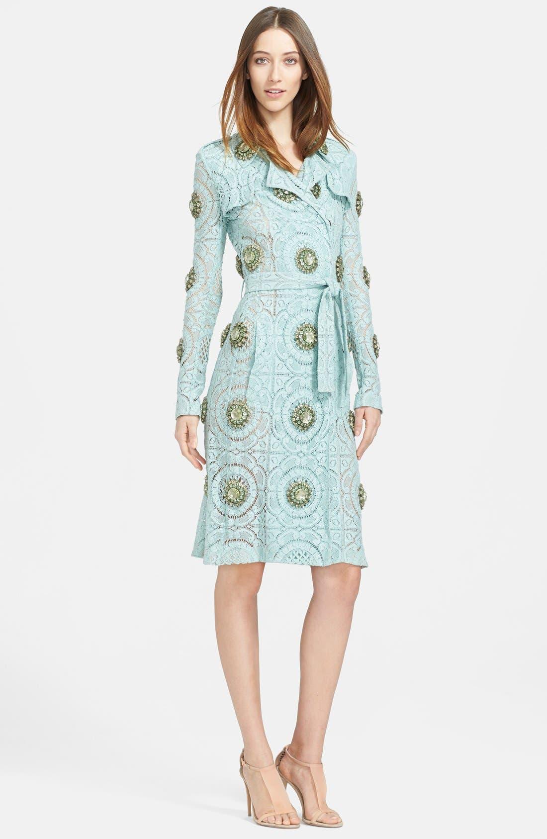Main Image - Burberry Prorsum Embellished English Lace Trench Coat
