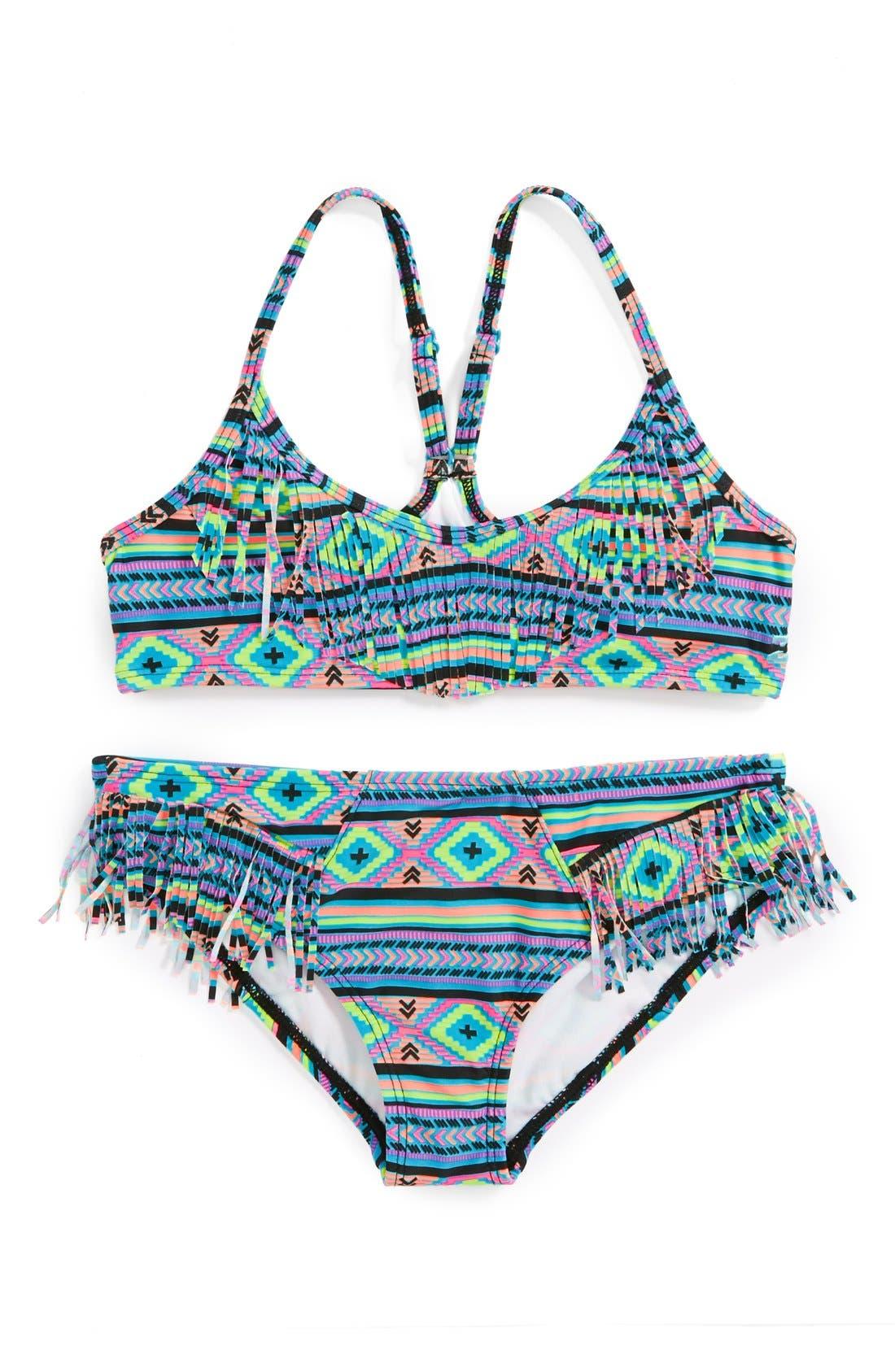 Alternate Image 1 Selected - Billabong 'Heat Wave' Racerback Two-Piece Swimsuit (Little Girls)(Online Only)
