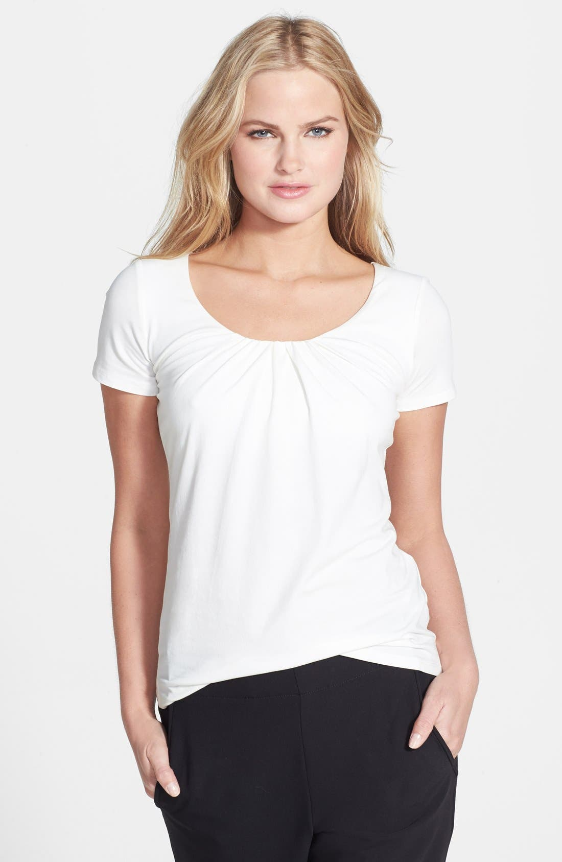 Alternate Image 1 Selected - Weekend Max Mara Pleat Neck Stretch Cotton Tee