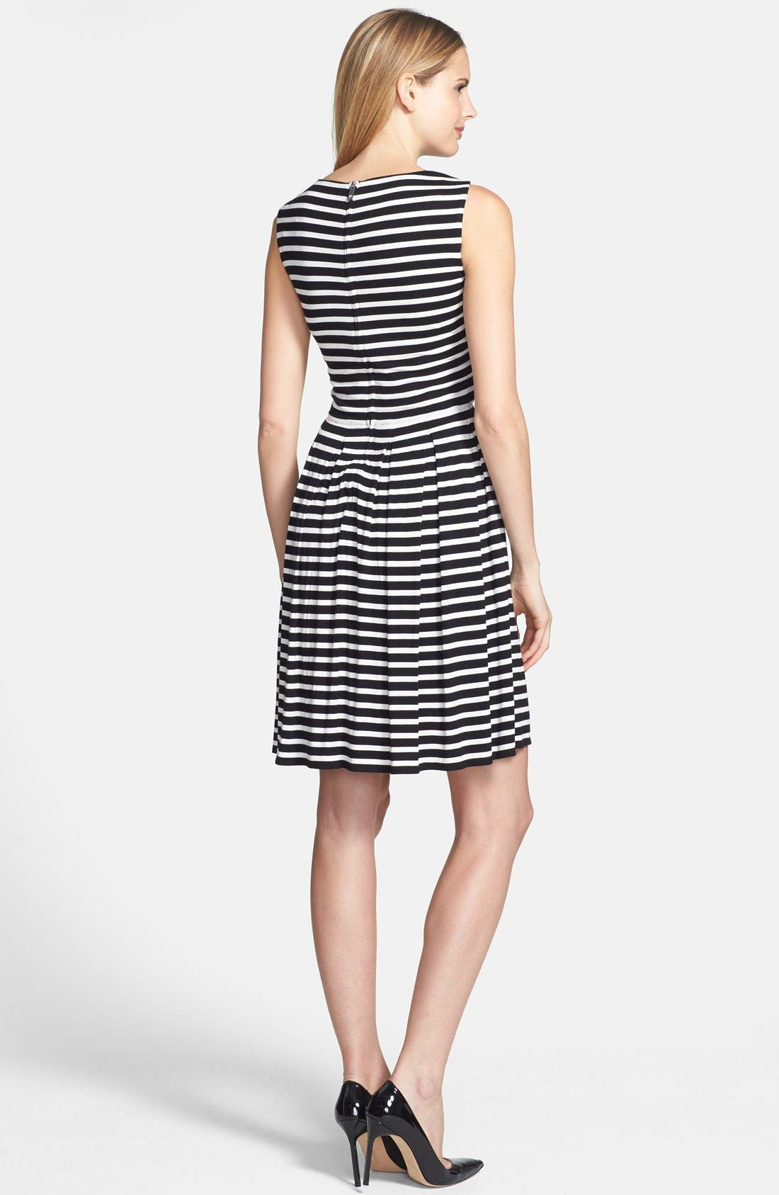 Alternate Image 2  - Chaus 'Meadow Stripe' Pleated Fit & Flare Dress