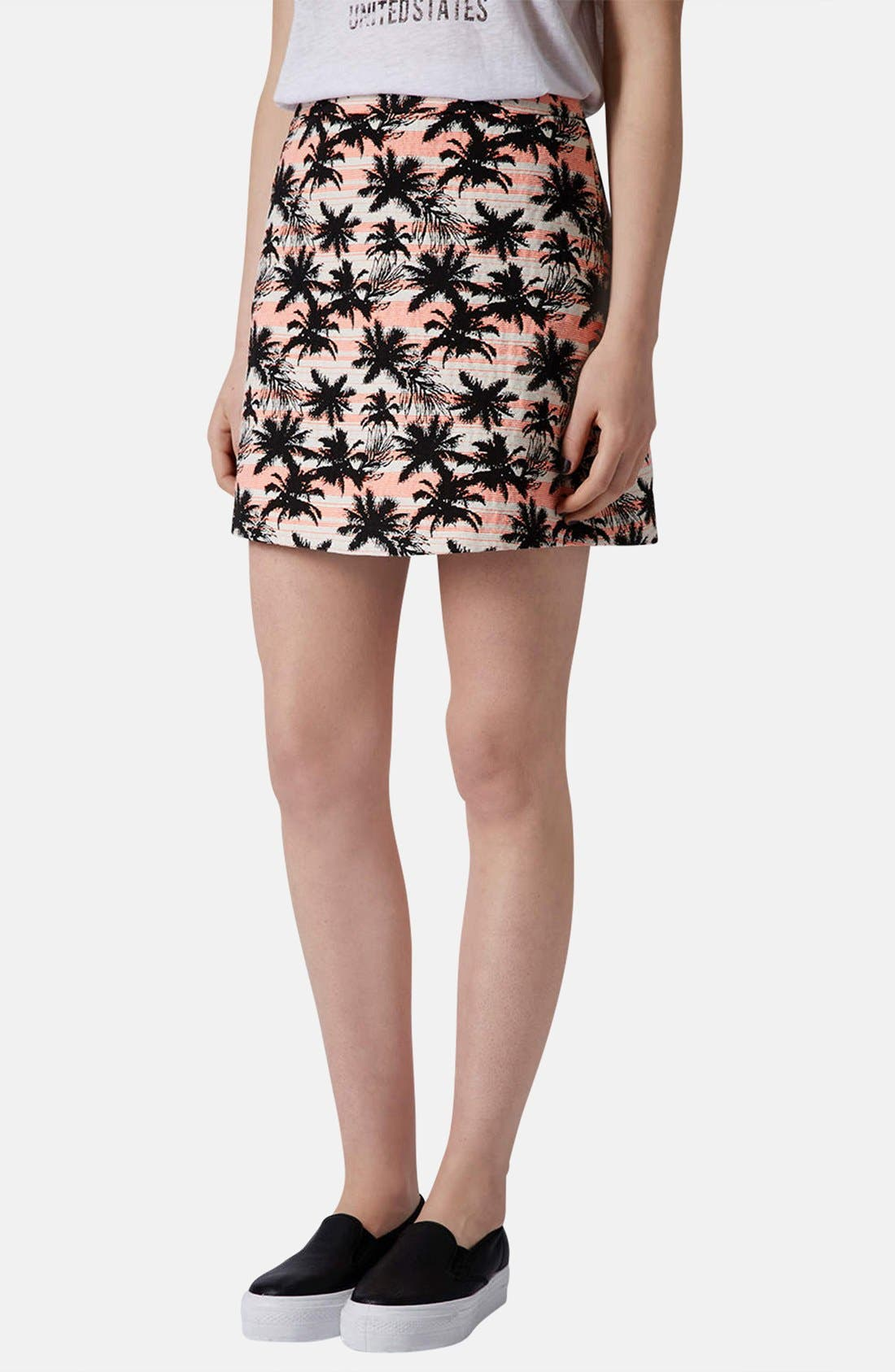 Main Image - Topshop Palm Jacquard A-Line Skirt