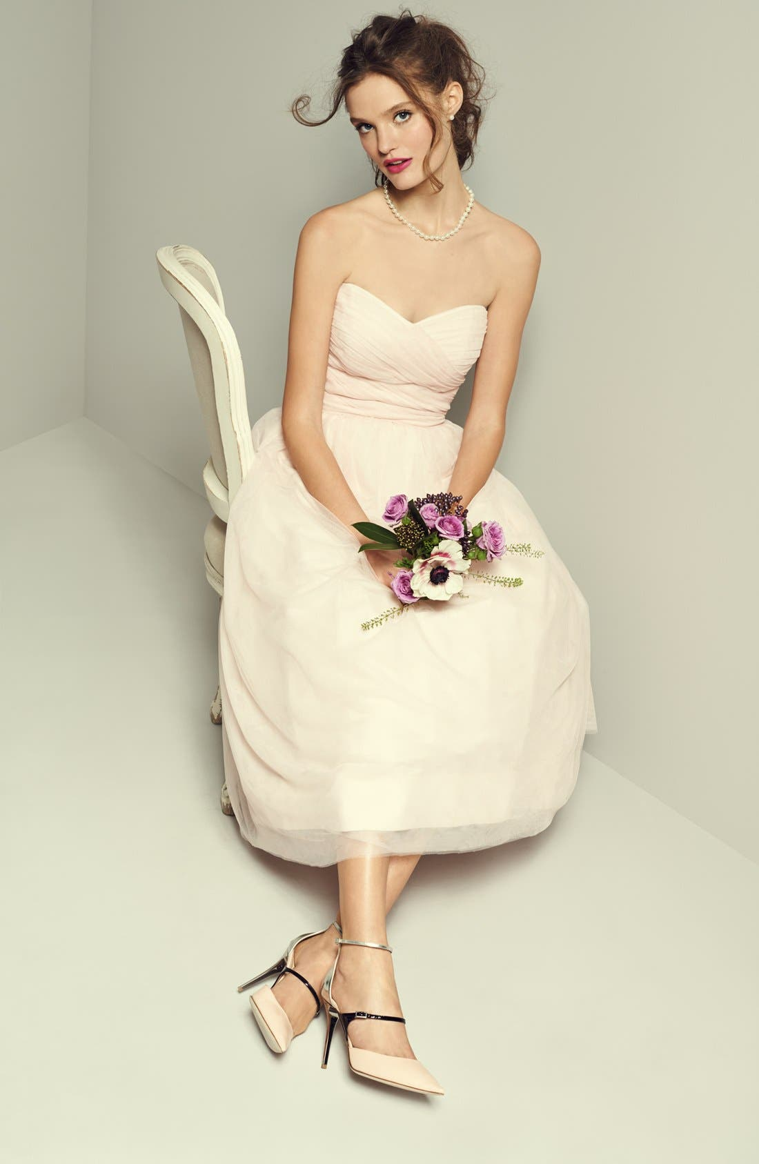 Alternate Image 4  - Monique Lhuillier Bridesmaids Tulle Tea-Length Dress