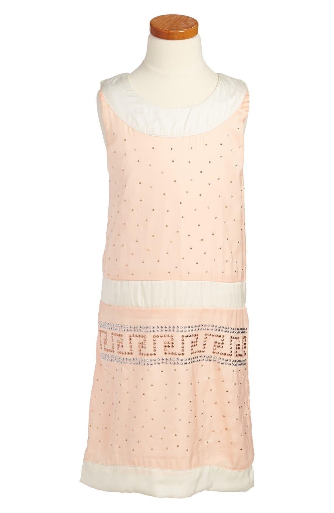 Alternate Image 1 Selected - Laundry by Shelli Segal 'Catherine' Sleeveless Studded Dress (Big Girls)
