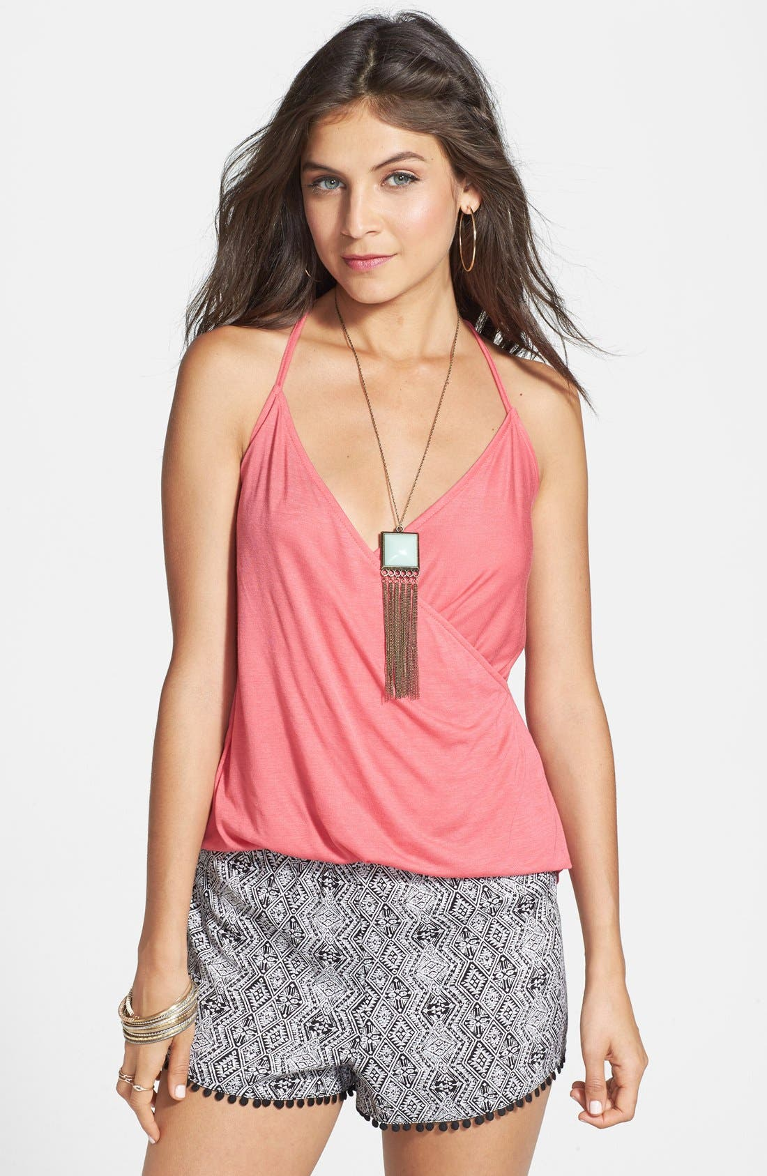 Alternate Image 1 Selected - Lily White Faux Wrap Knit Tank (Juniors) (Online Only)