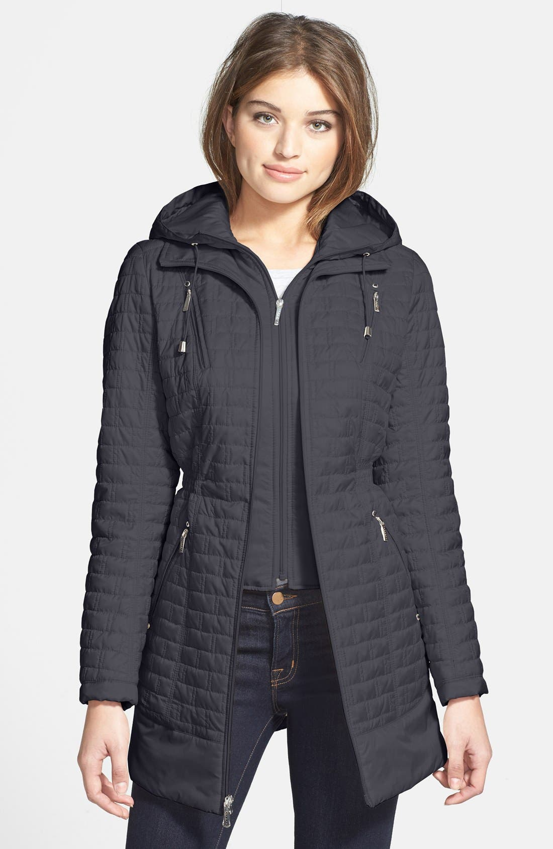 Alternate Image 1 Selected - Laundry by Shelli Segal Quilted Anorak with Detachable Hooded Vest Insert