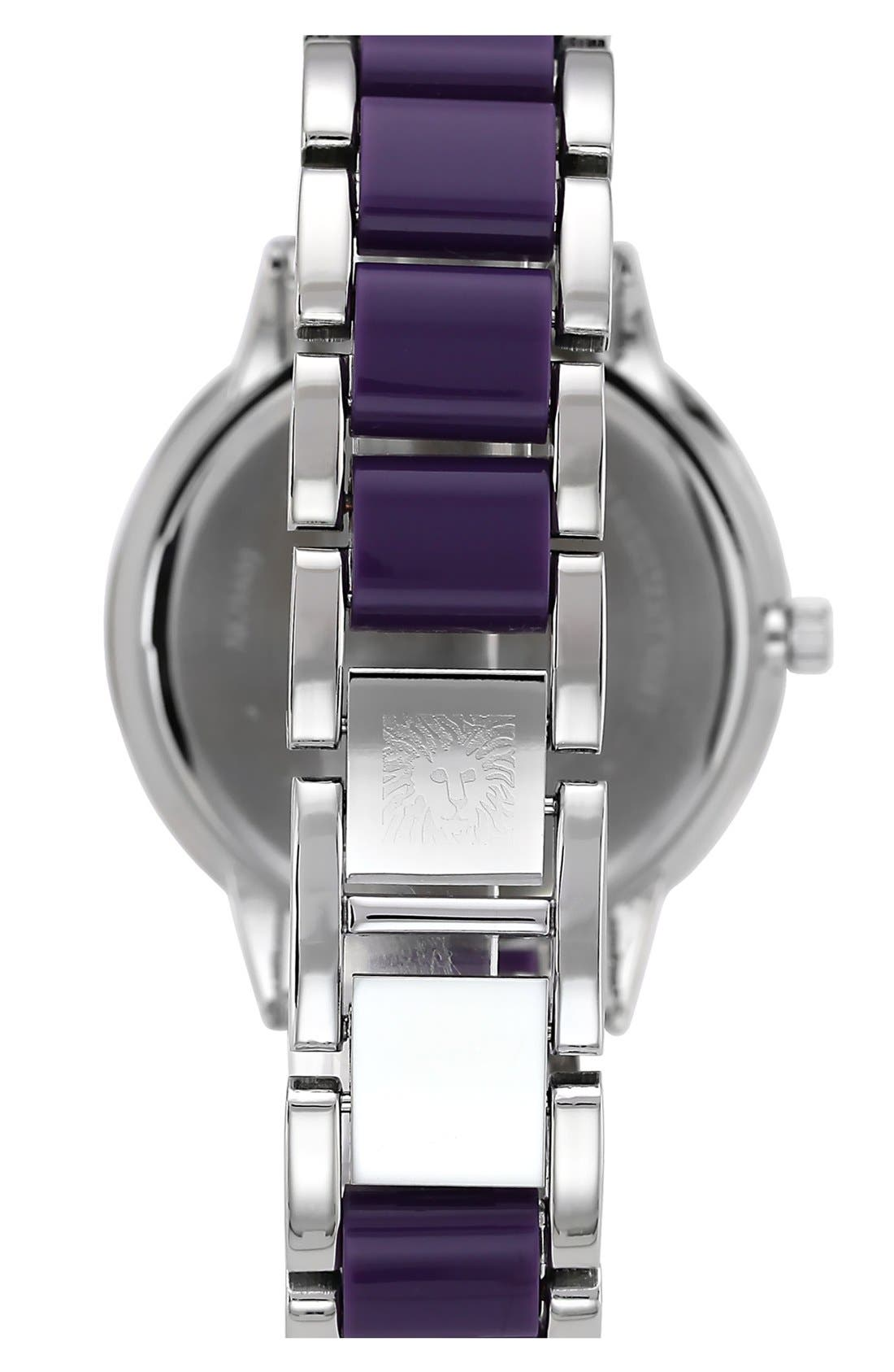 Alternate Image 2  - Anne Klein Round Plastic Link Bracelet Watch, 37mm