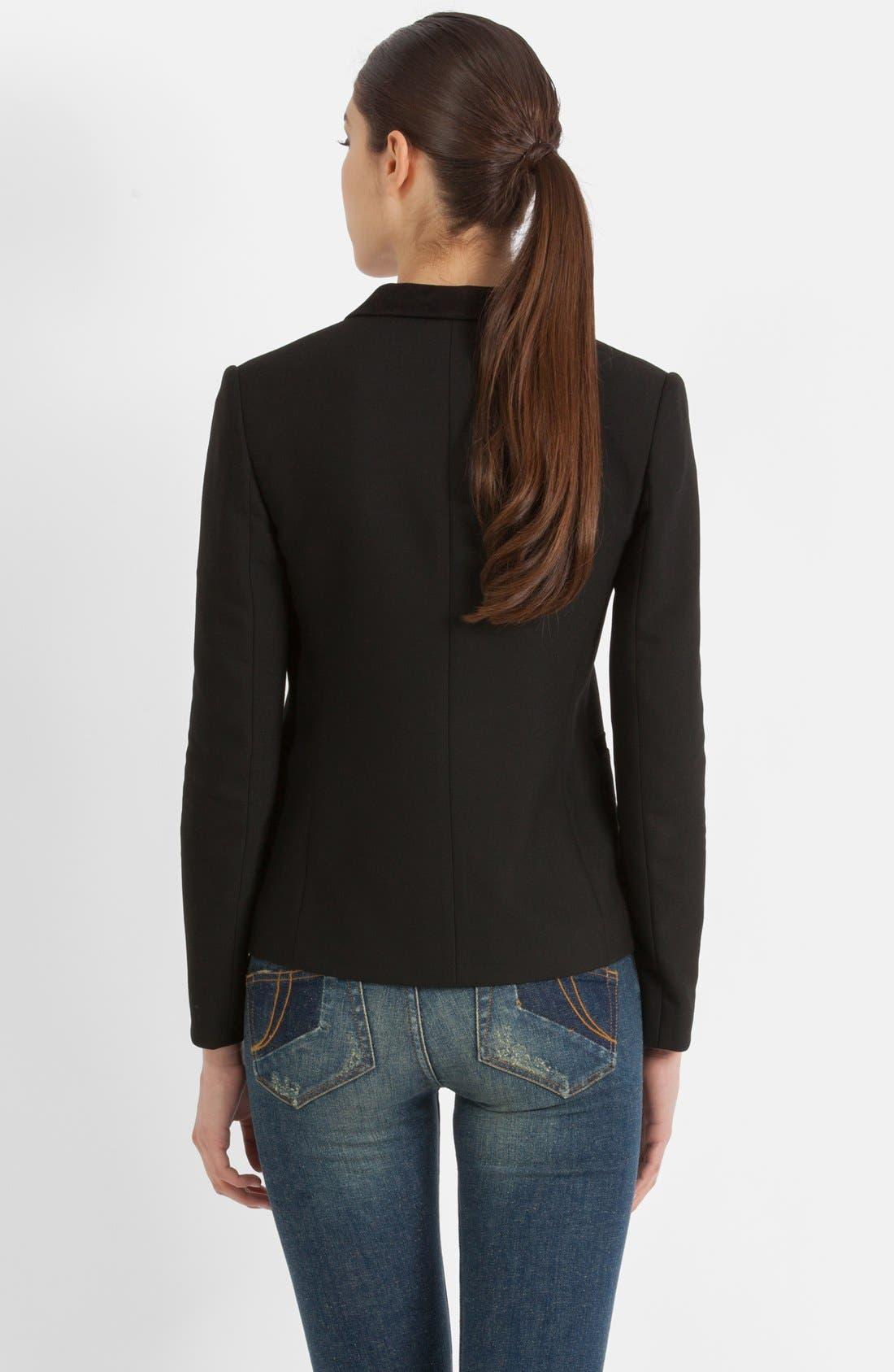 Alternate Image 2  - maje 'Veste Cintree' Leather Accent Blazer