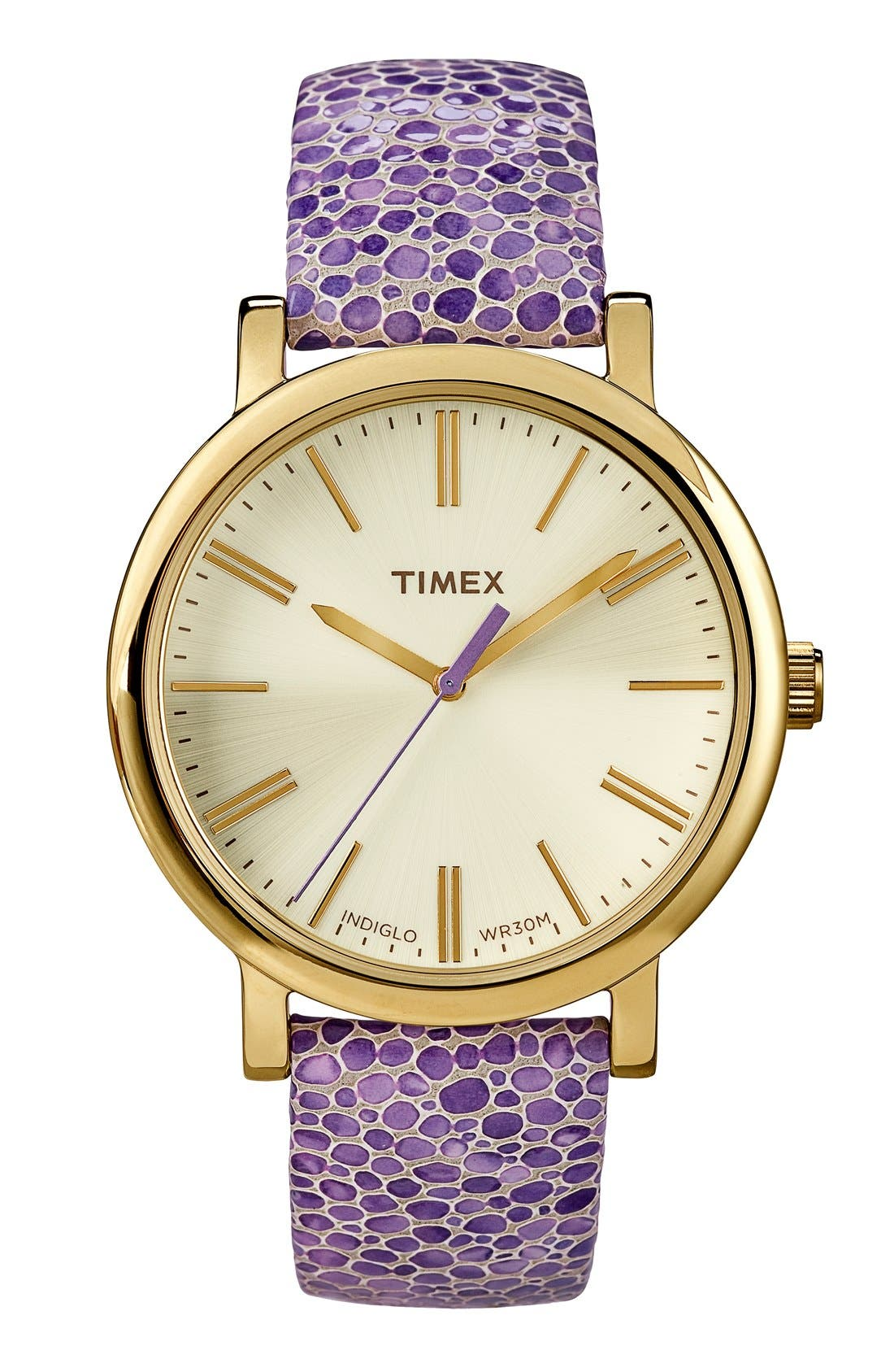 Main Image - Timex® Round Pebbled Leather Strap Watch, 38mm