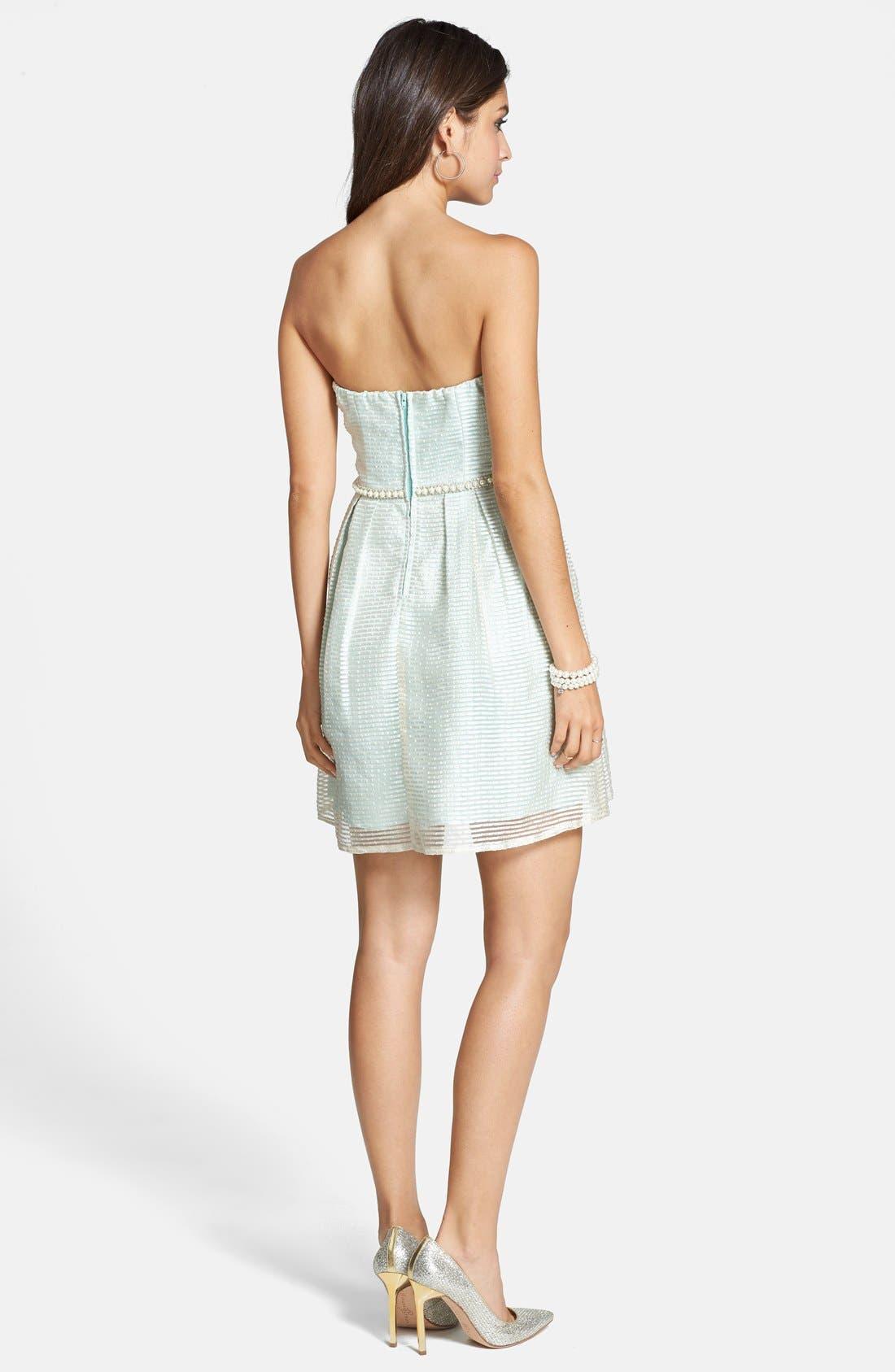 Alternate Image 2  - a. drea Strapless Seersucker Fit & Flare Dress (Juniors)