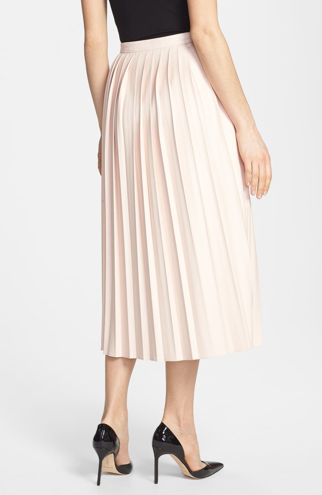 Alternate Image 2  - Pink Tartan Faux Leather Pleat Skirt