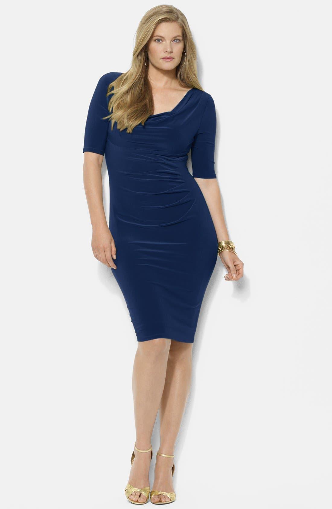 Main Image - Lauren Ralph Lauren Matte Jersey Cowl Neck Dress (Plus Size)