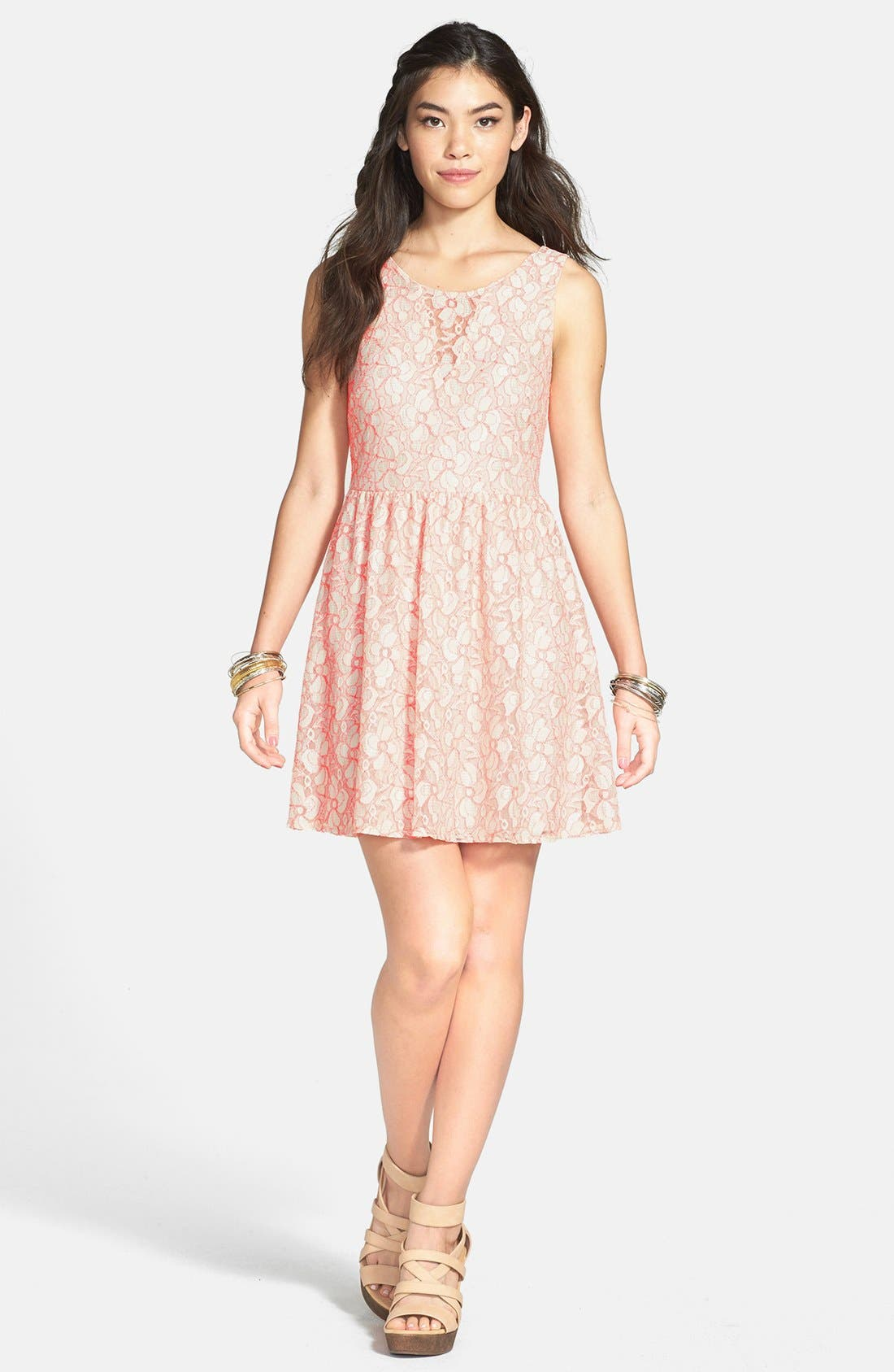 Alternate Image 1 Selected - Lush V-Back Lace Skater Dress (Juniors) (Online Only)