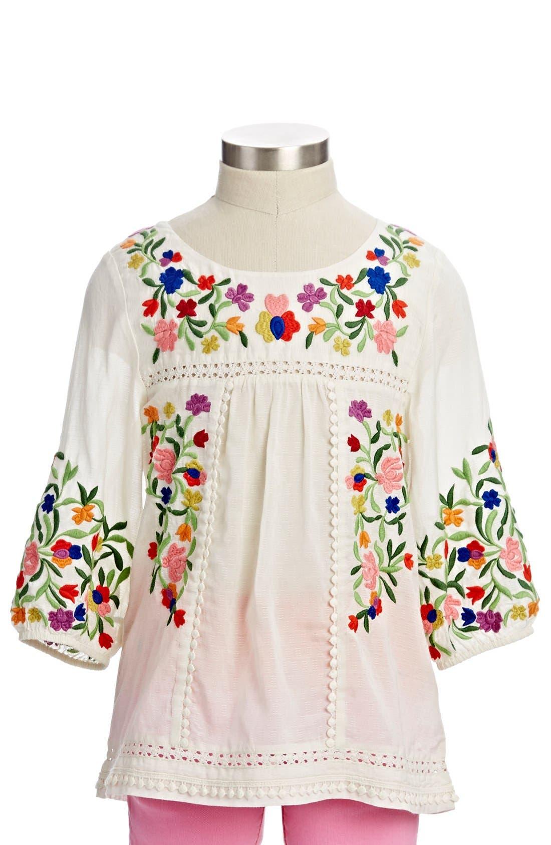 Main Image - Peek 'Marin' Embroidered Peasant Top (Toddler Girls, Little Girls & Big Girls)