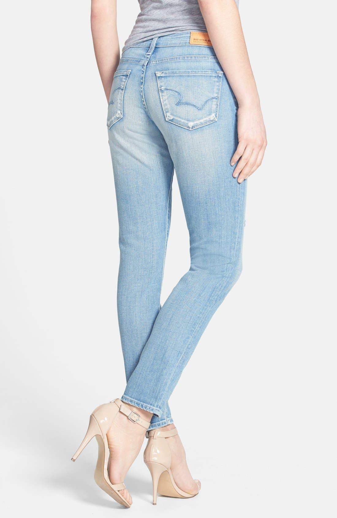 Alternate Image 2  - Big Star 'Alex' Distressed Stretch Skinny Jeans (20-Year Harbor) (Petite)