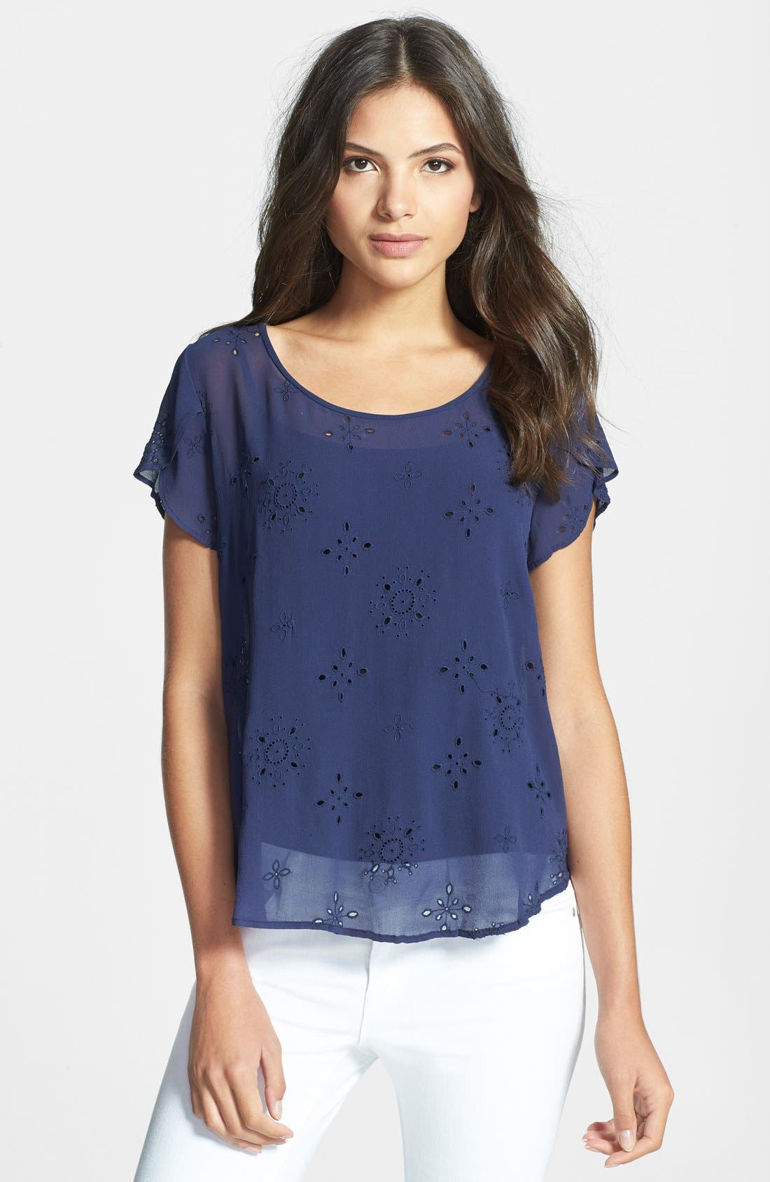 Alternate Image 1 Selected - Joie 'Rayelle' Eyelet Silk Top