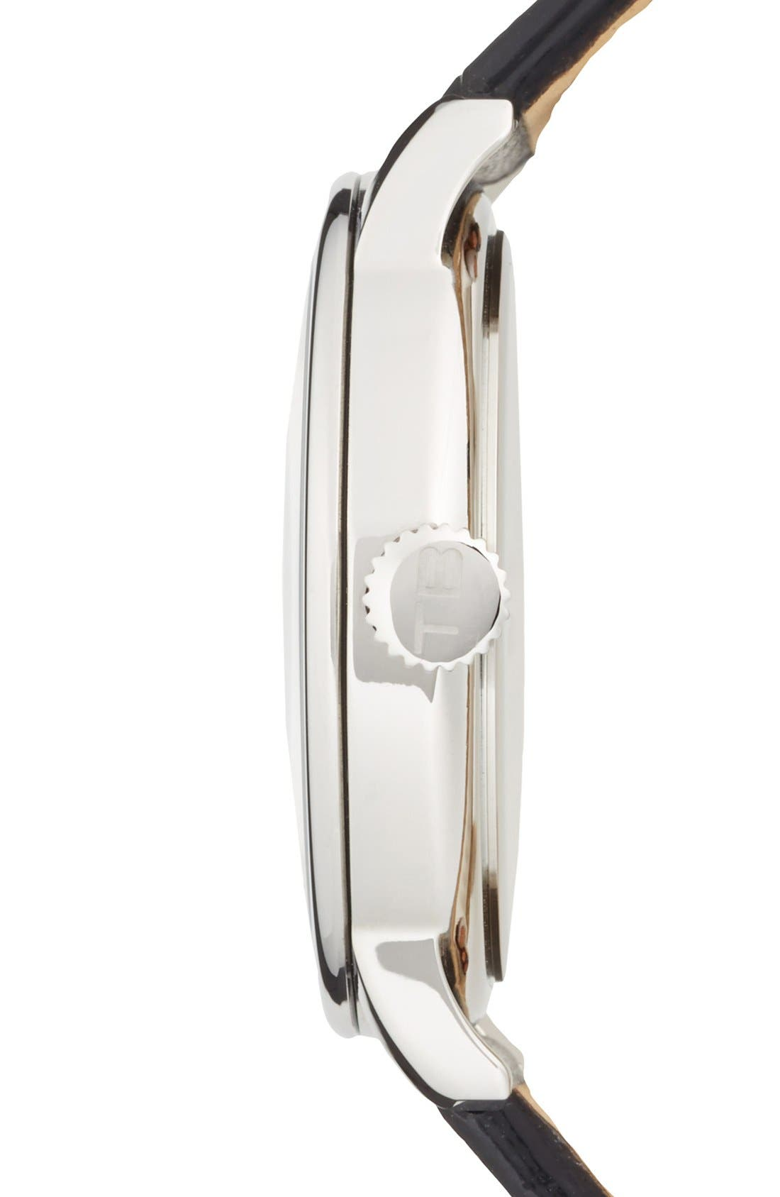 Alternate Image 3  - Ted Baker London Round Leather Strap Watch, 42mm