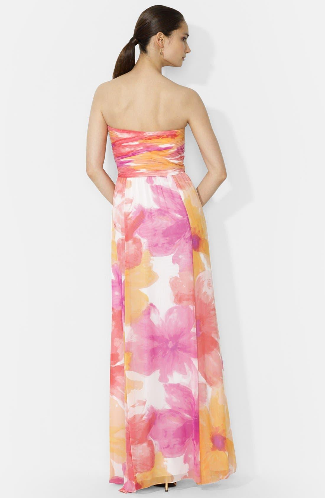 Alternate Image 2  - Lauren Ralph Lauren Floral Print Strapless Gown
