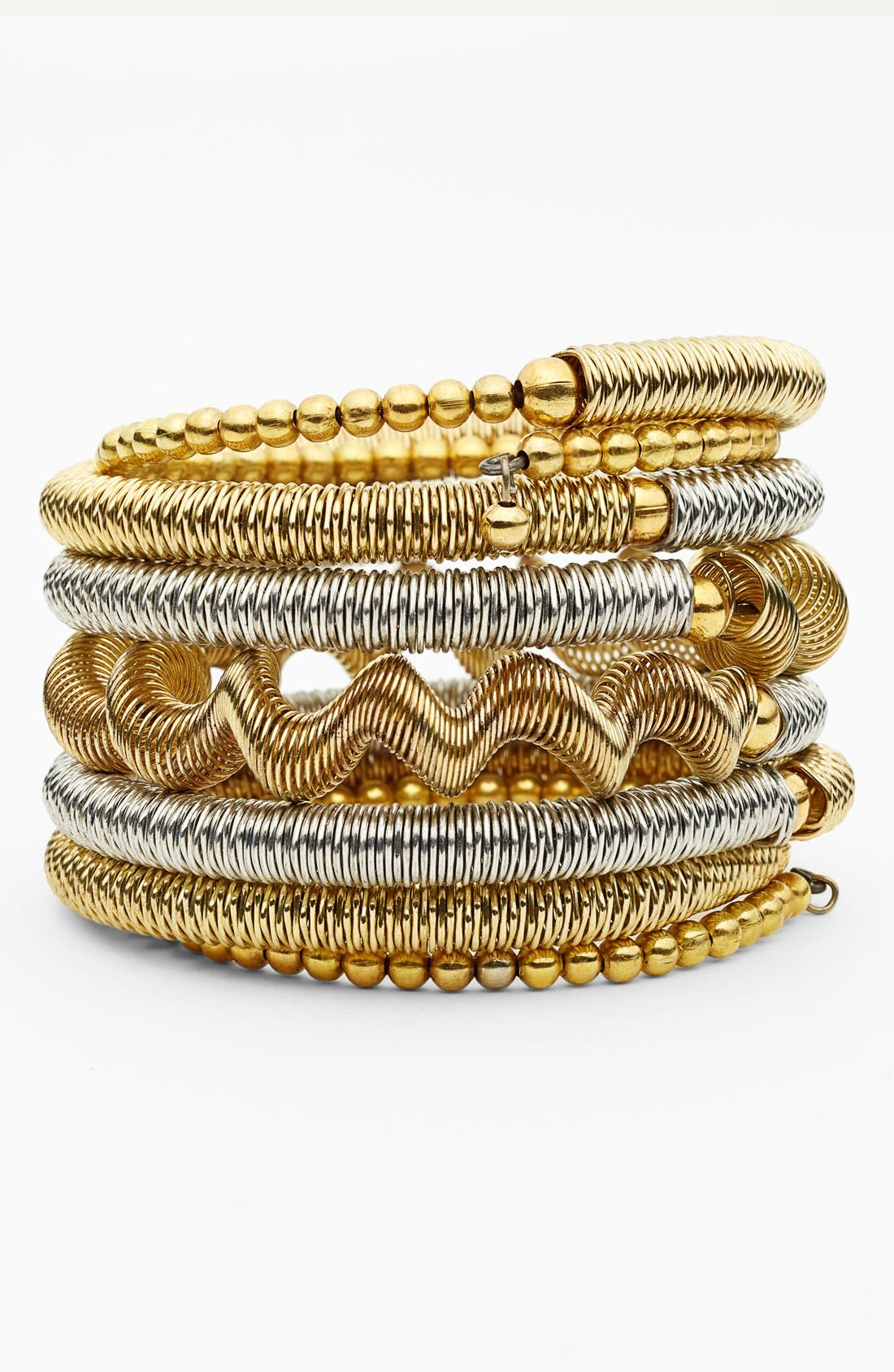 Main Image - Spring Street Mixed Metal Coil One-Piece Bracelet