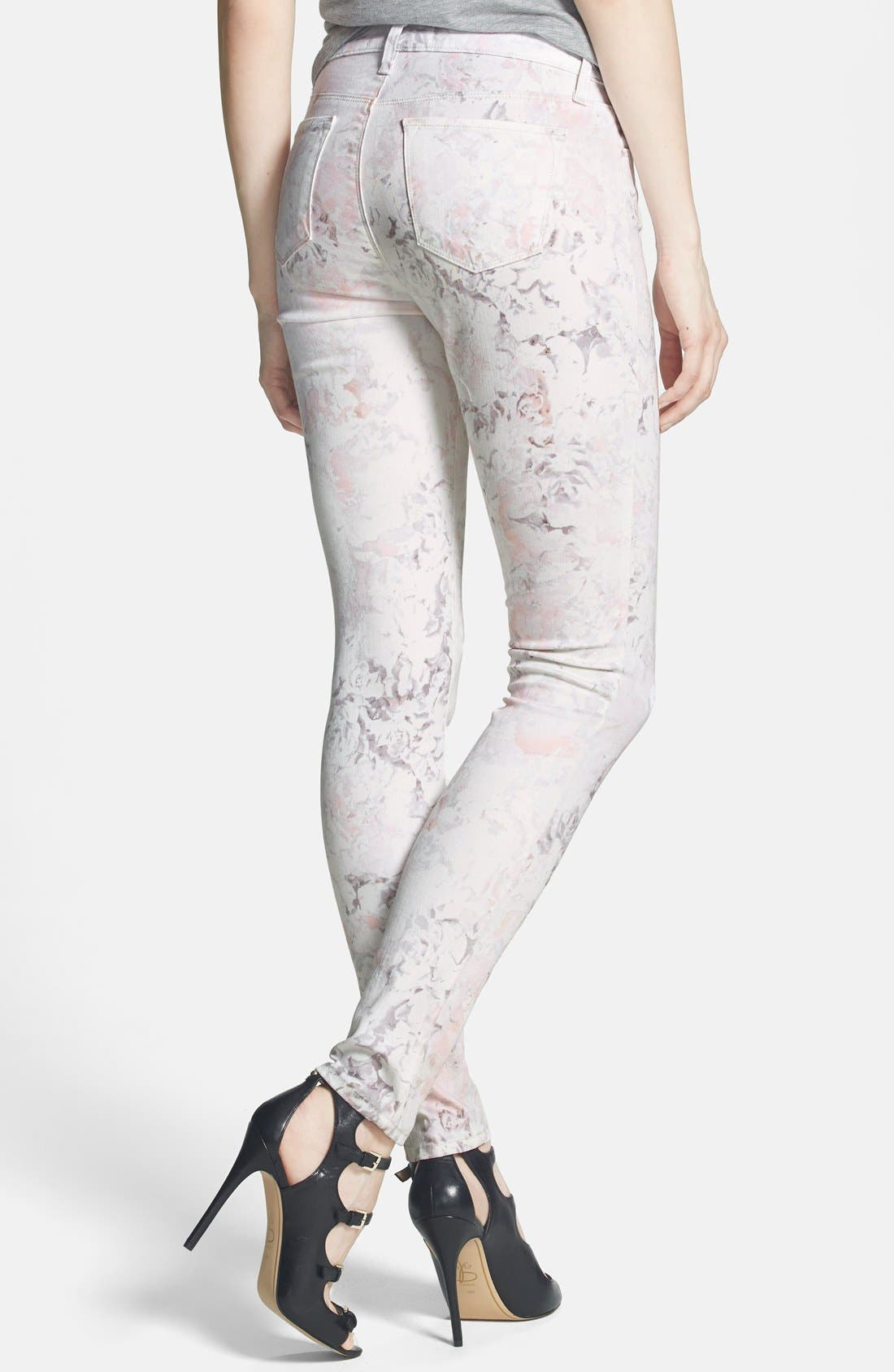 Alternate Image 2  - J Brand Print Super Skinny Jeans (Ghost Rose)