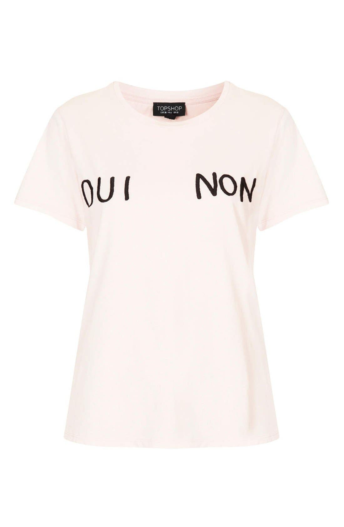 Alternate Image 3  - Topshop 'Oui Non' Embroidered Cotton Tee