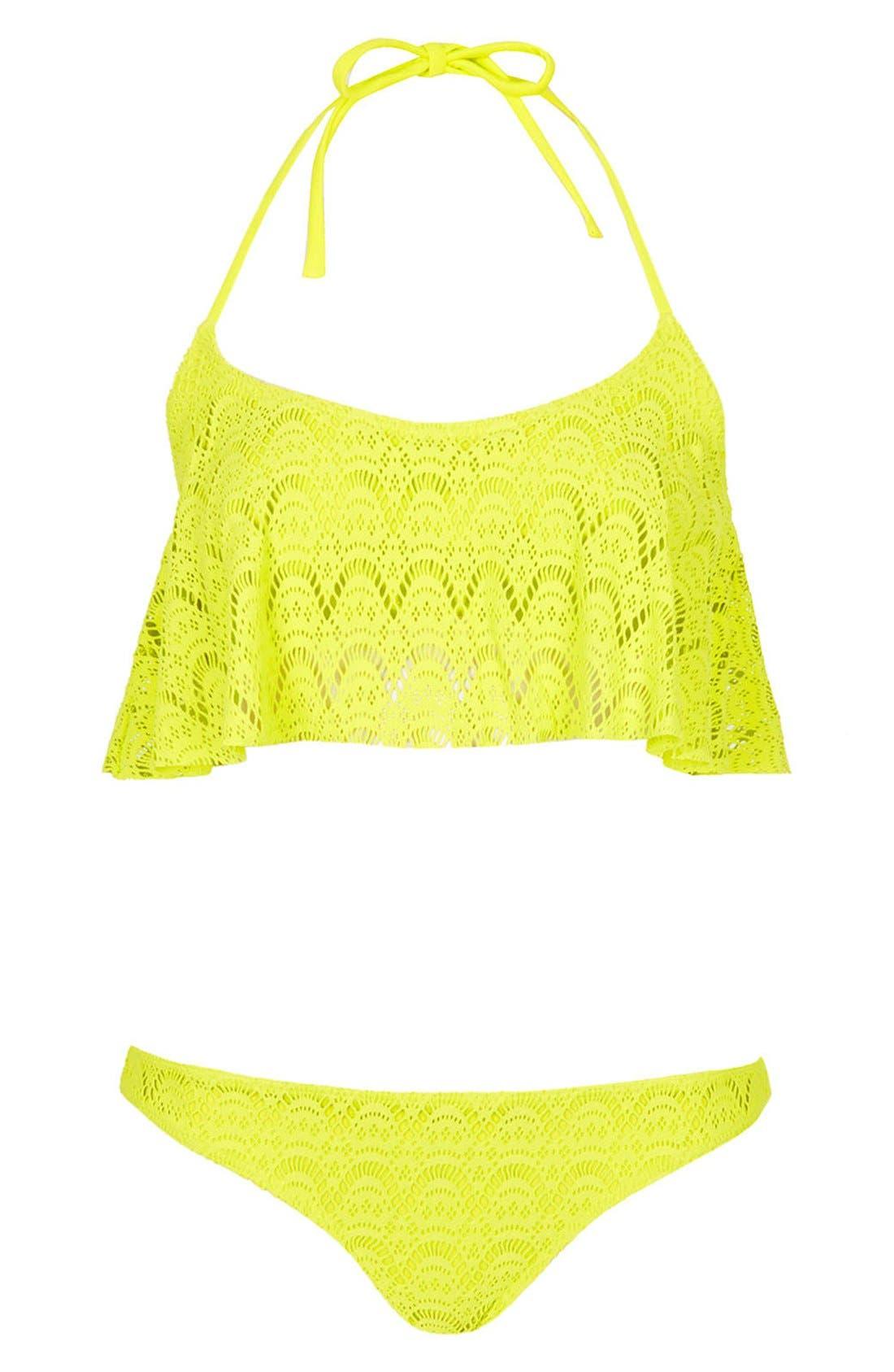 Main Image - Topshop Crochet Ruffle Panel Bikini