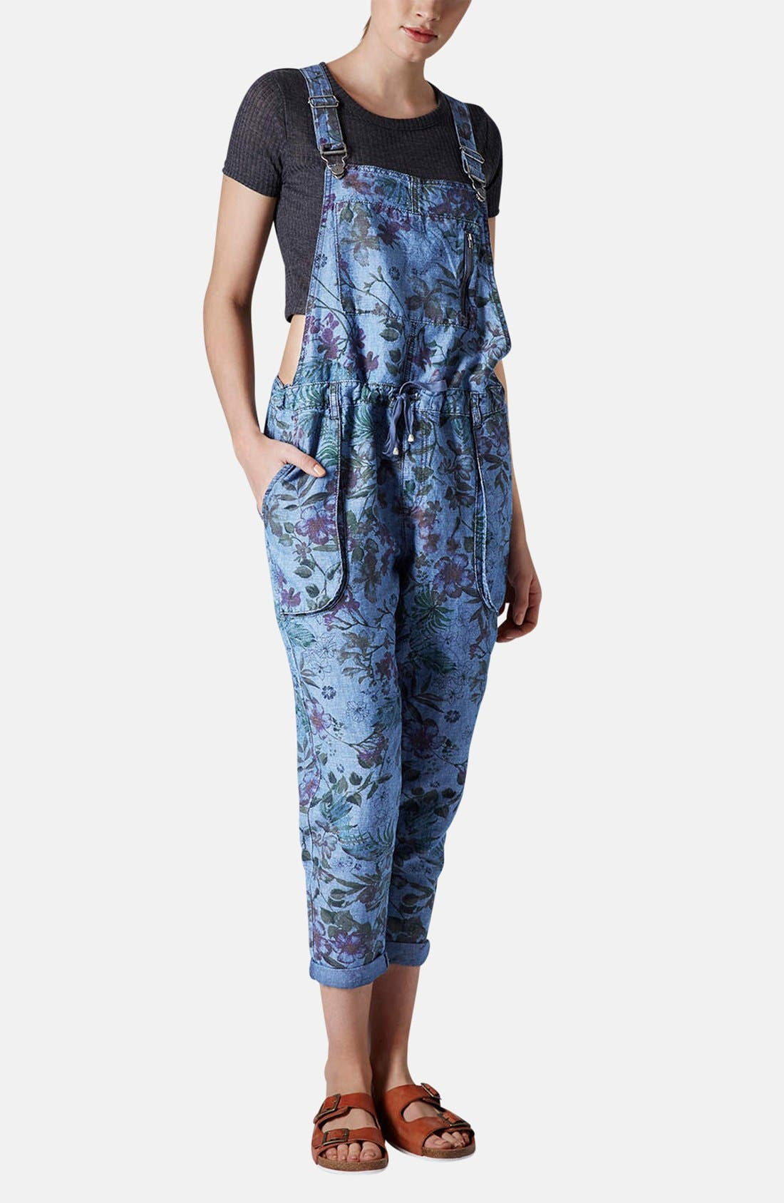 Alternate Image 1 Selected - Topshop Moto Floral Print Drawstring Overalls