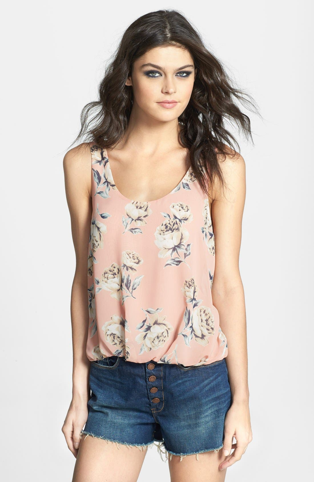 Alternate Image 1 Selected - ASTR Floral Print Bubble Hem Tank
