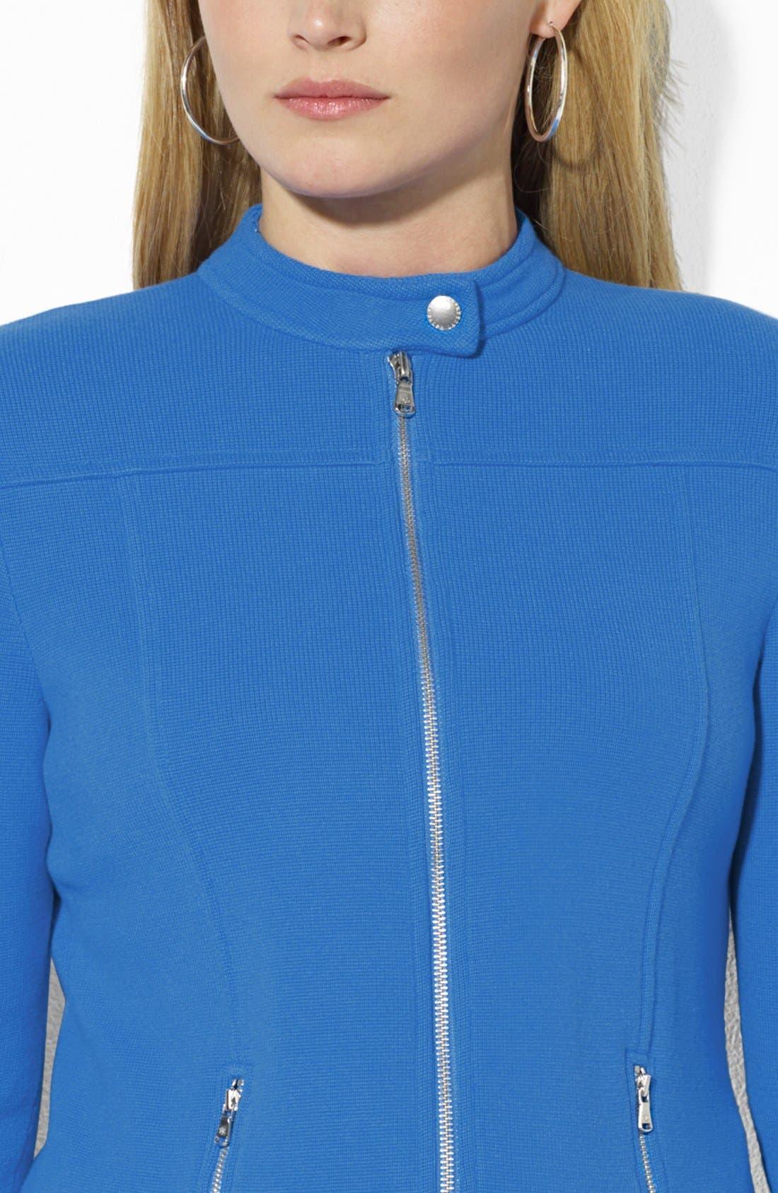 Alternate Image 3  - Lauren Ralph Lauren Fitted Knit Moto Cardigan (Plus Size)