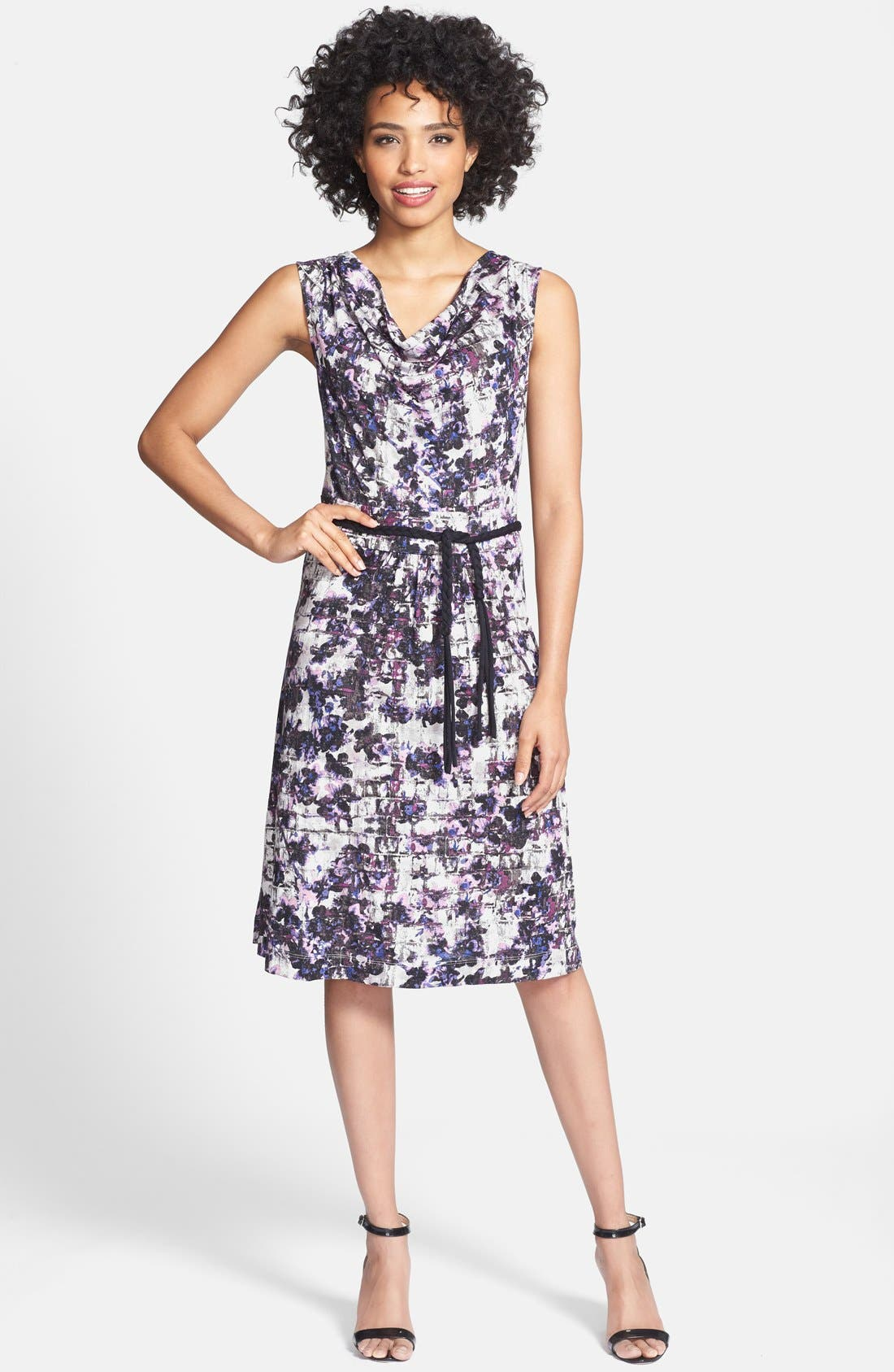 Alternate Image 1 Selected - NIC+ZOE 'Fossilized Vines' Belted Jersey Dress