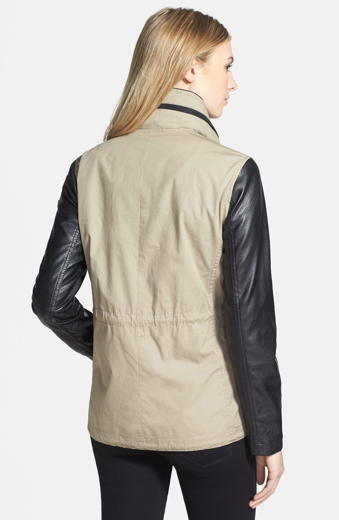 Alternate Image 2  - Vince Camuto Faux Leather & Cotton Anorak