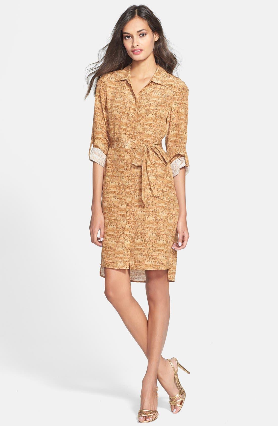 Alternate Image 1 Selected - Diane von Furstenberg 'Prita' Belted Print Silk Shirtdress