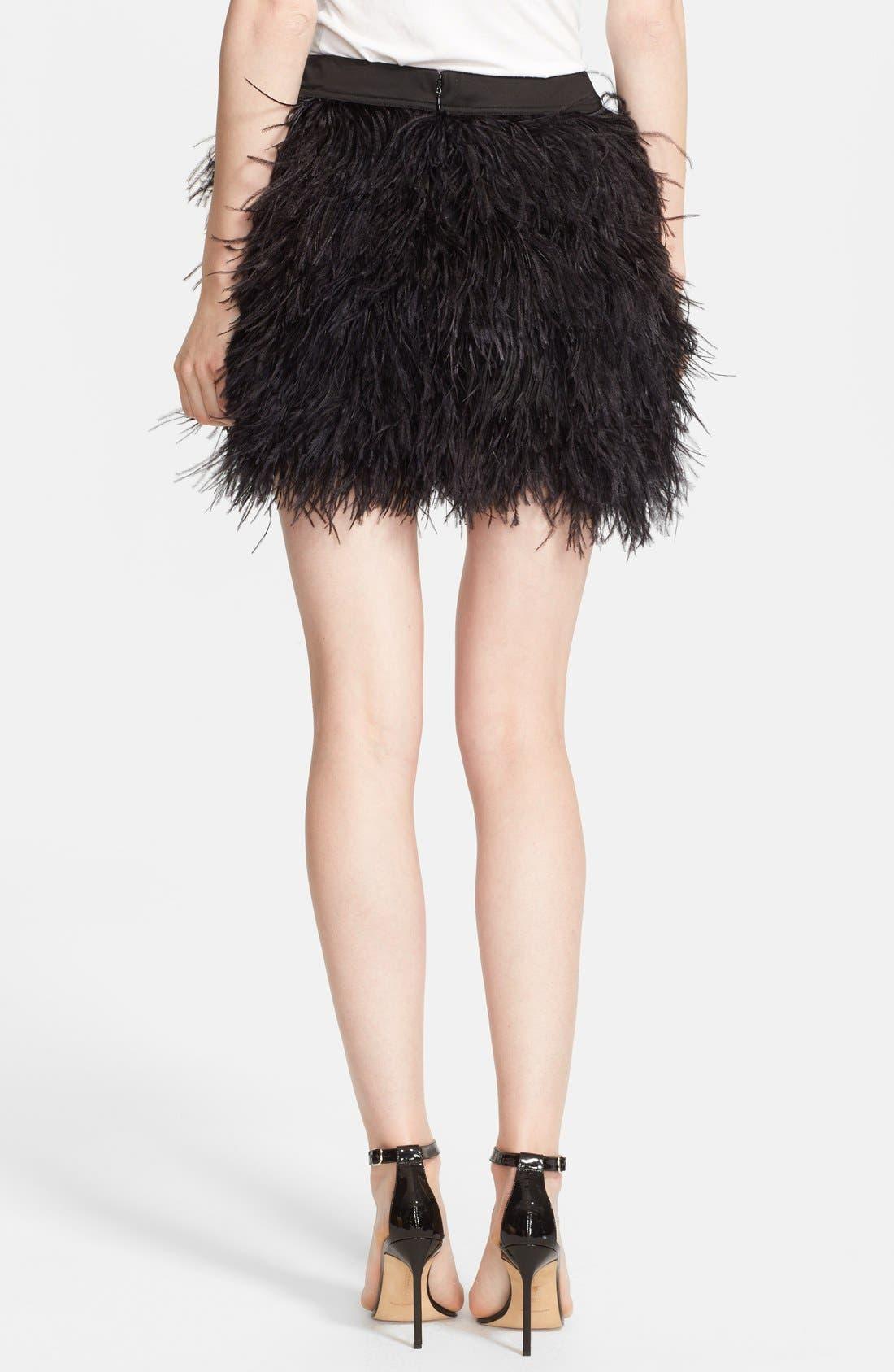 Alternate Image 2  - Robert Rodriguez Faux Ostrich Feather Miniskirt