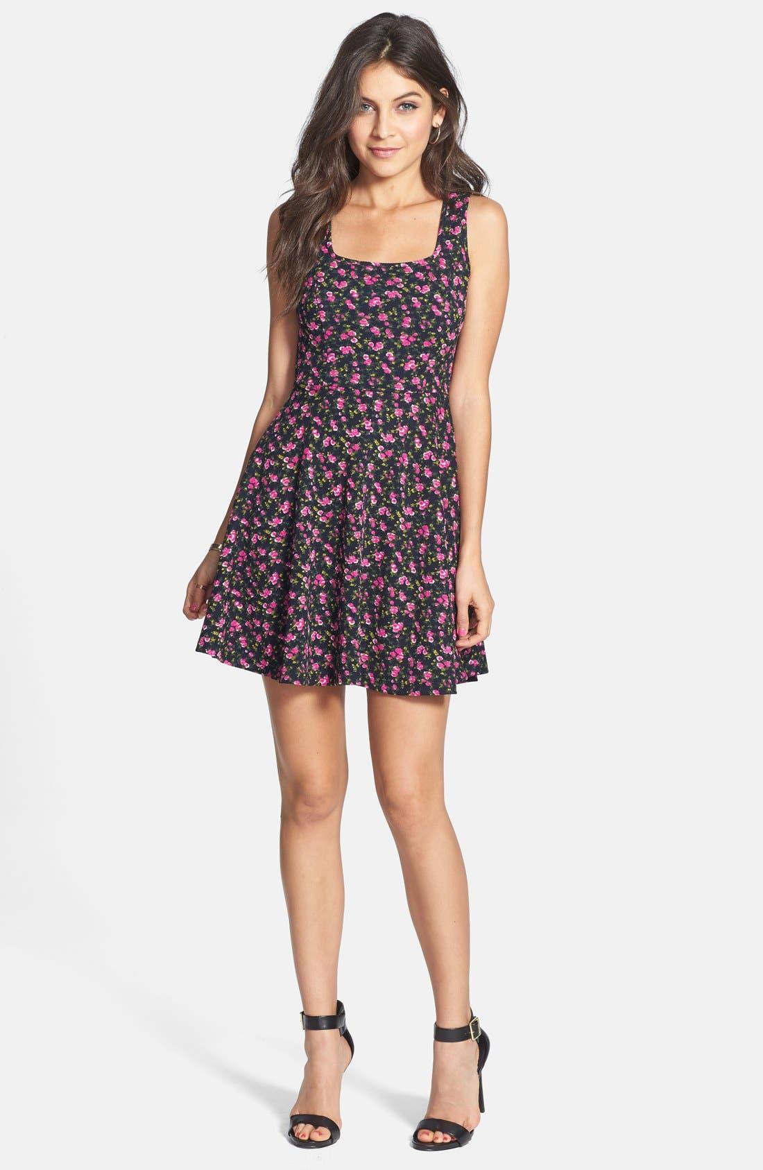 Main Image - Soprano Floral Textured Skater Dress (Juniors)