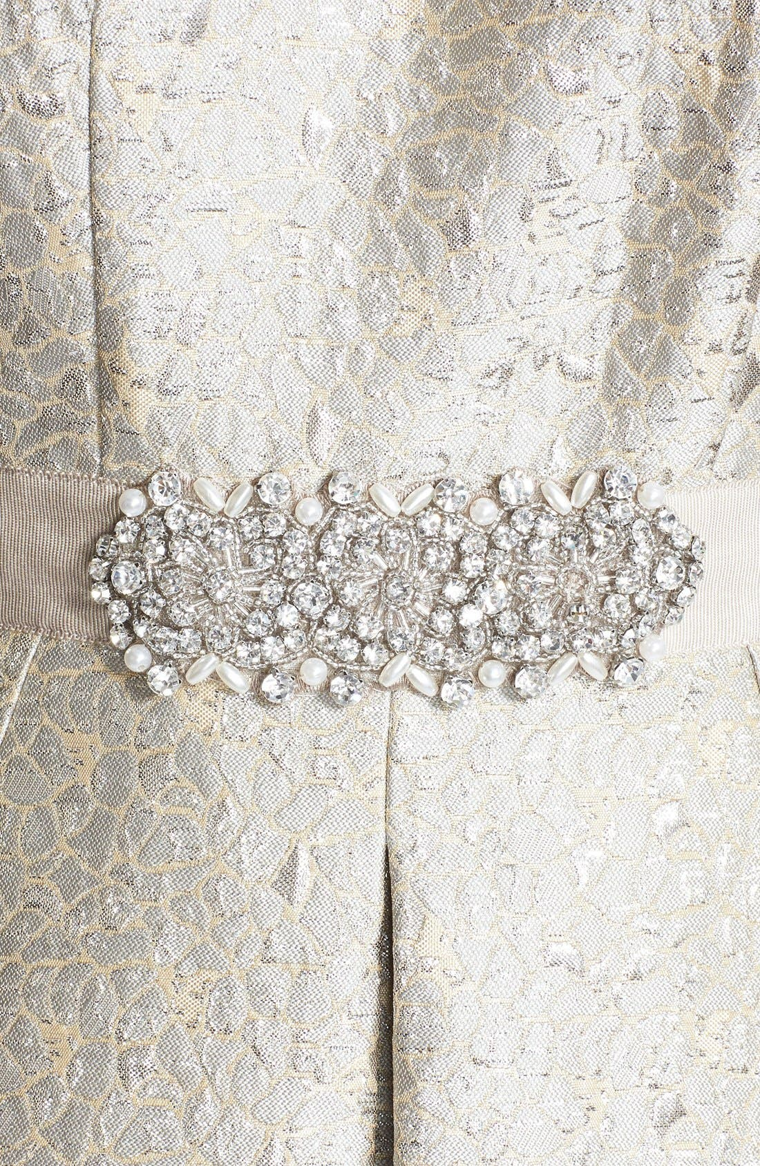 Alternate Image 4  - Eliza J Embellished Metallic Jacquard Fit & Flare Dress