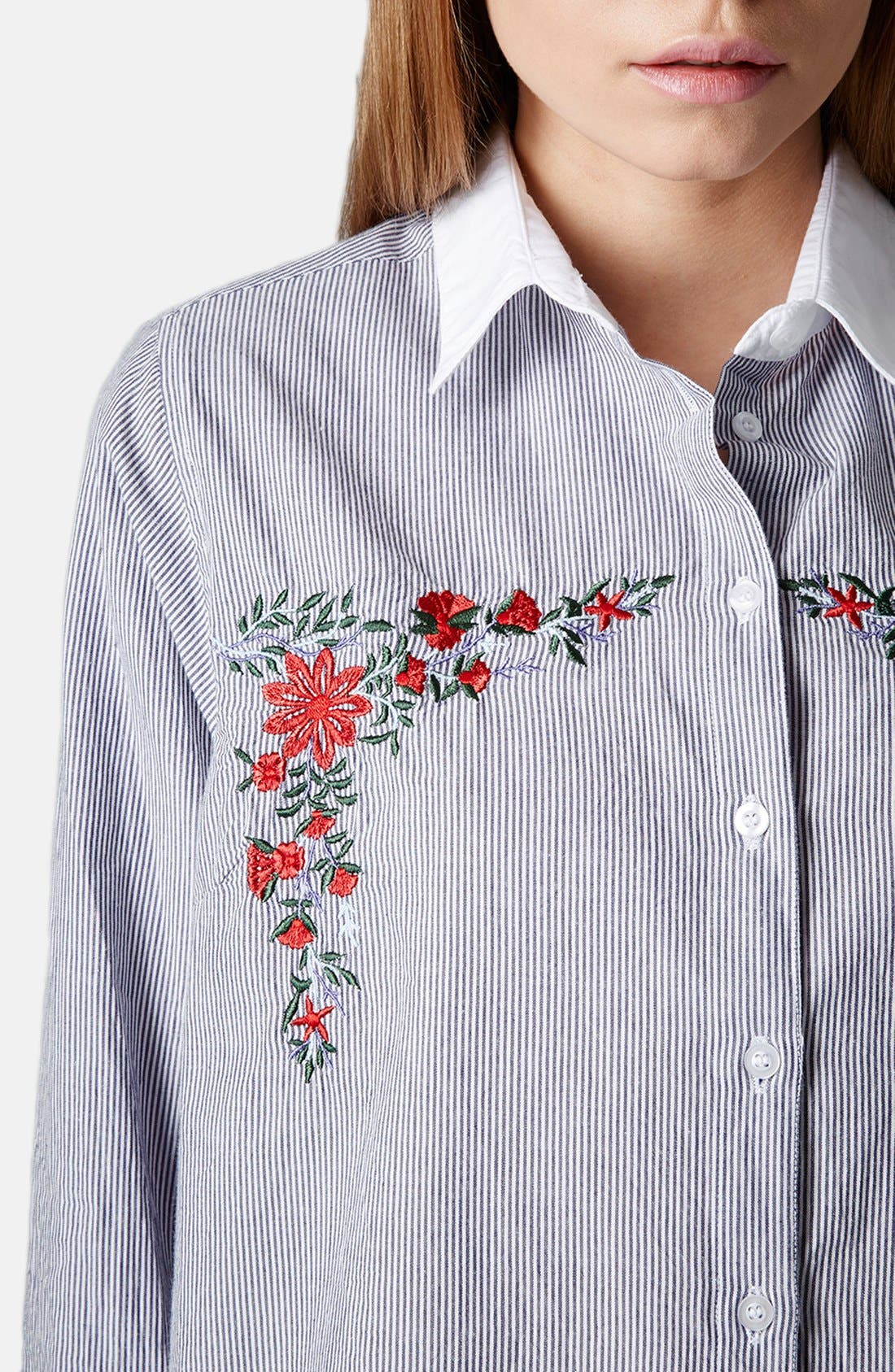 Alternate Image 4  - Topshop Embroidered Cotton Shirt