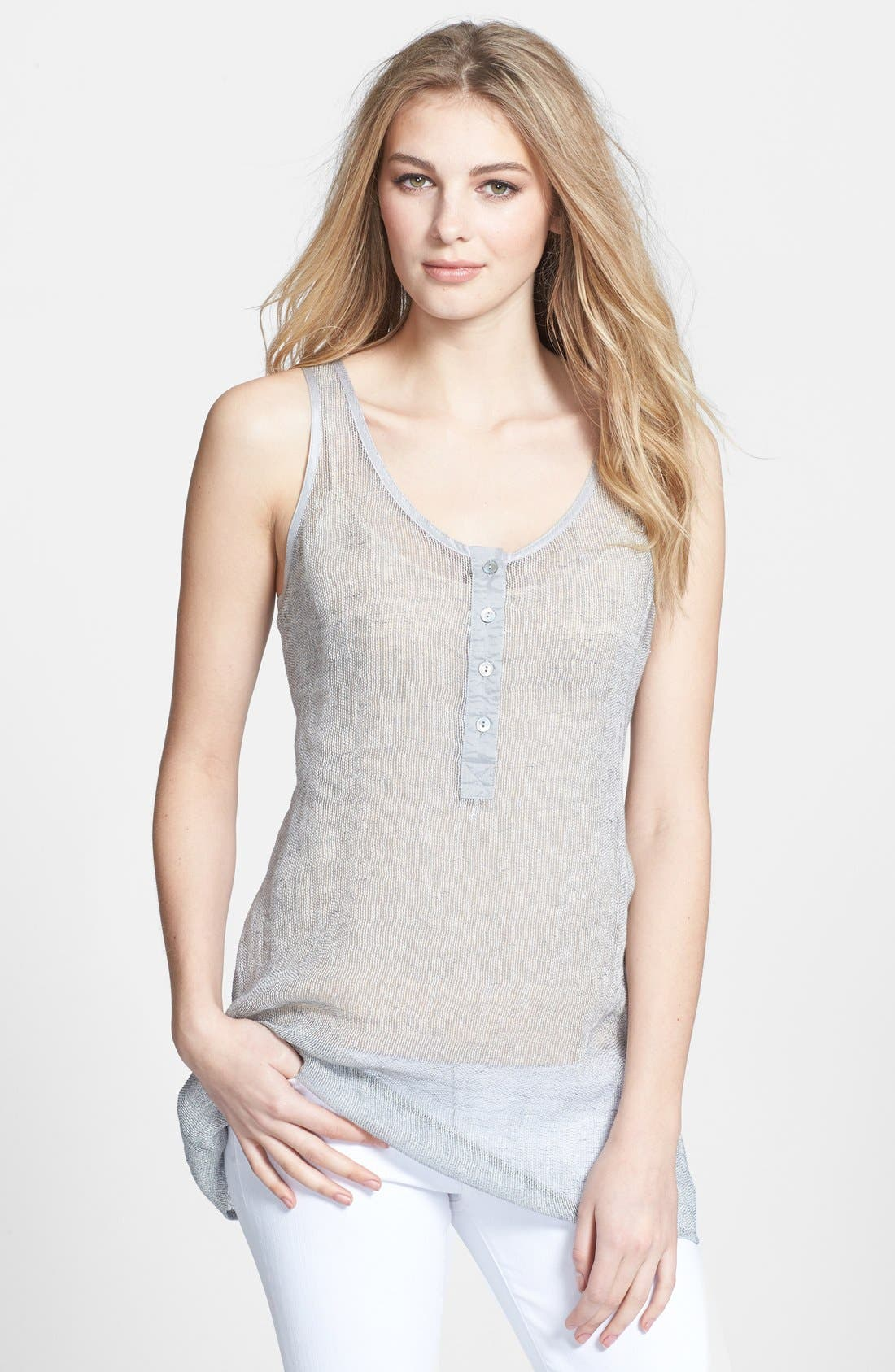 Main Image - Eileen Fisher Linen Blend Scoop Neck Tunic (Regular & Petite)