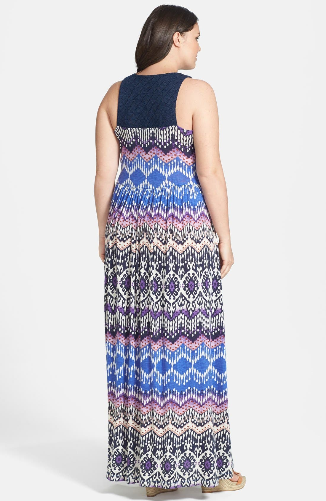 Alternate Image 2  - Lucky Brand Print Slub Jersey Maxi Dress (Plus Size)