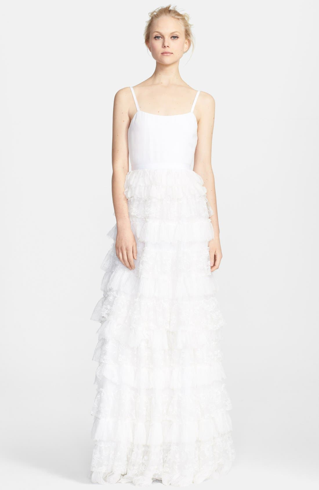 Alternate Image 1 Selected - Alice + Olivia Ruffle Tiered Lace Gown