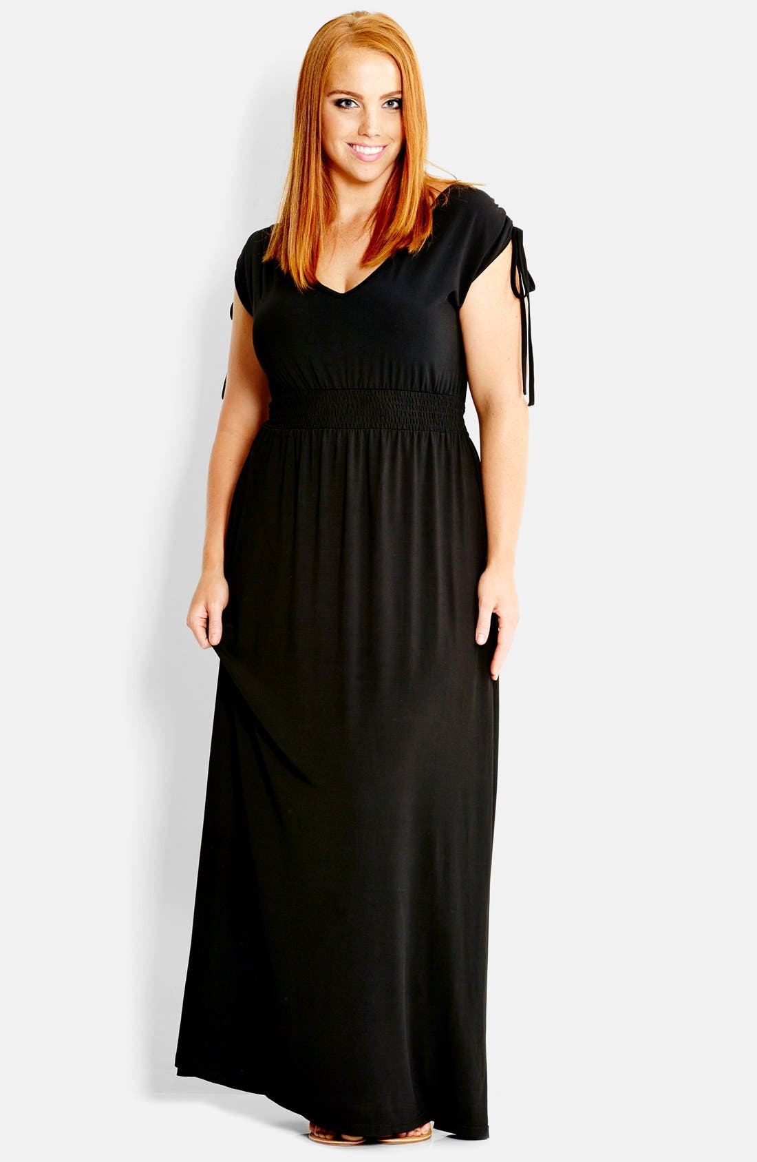 Alternate Image 1 Selected - City Chic 'Drapey' V-Neck Maxi Dress (Plus Size)