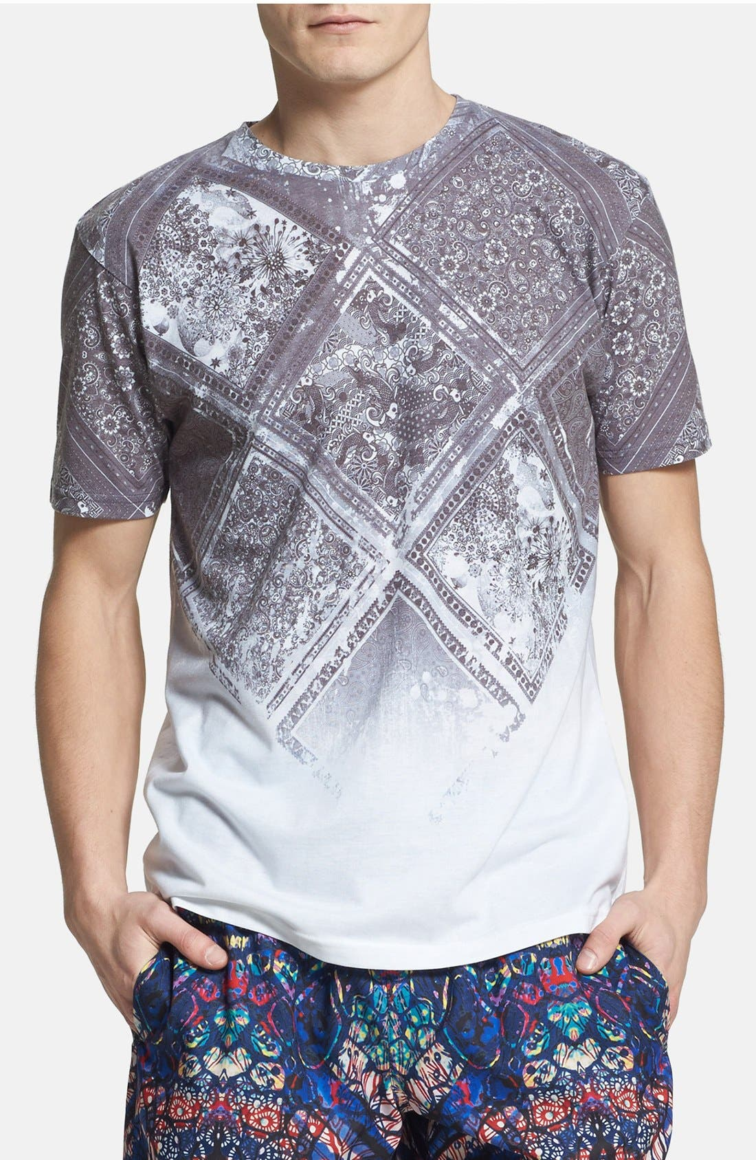 Alternate Image 1 Selected - Topman Paisley Tile Print T-Shirt