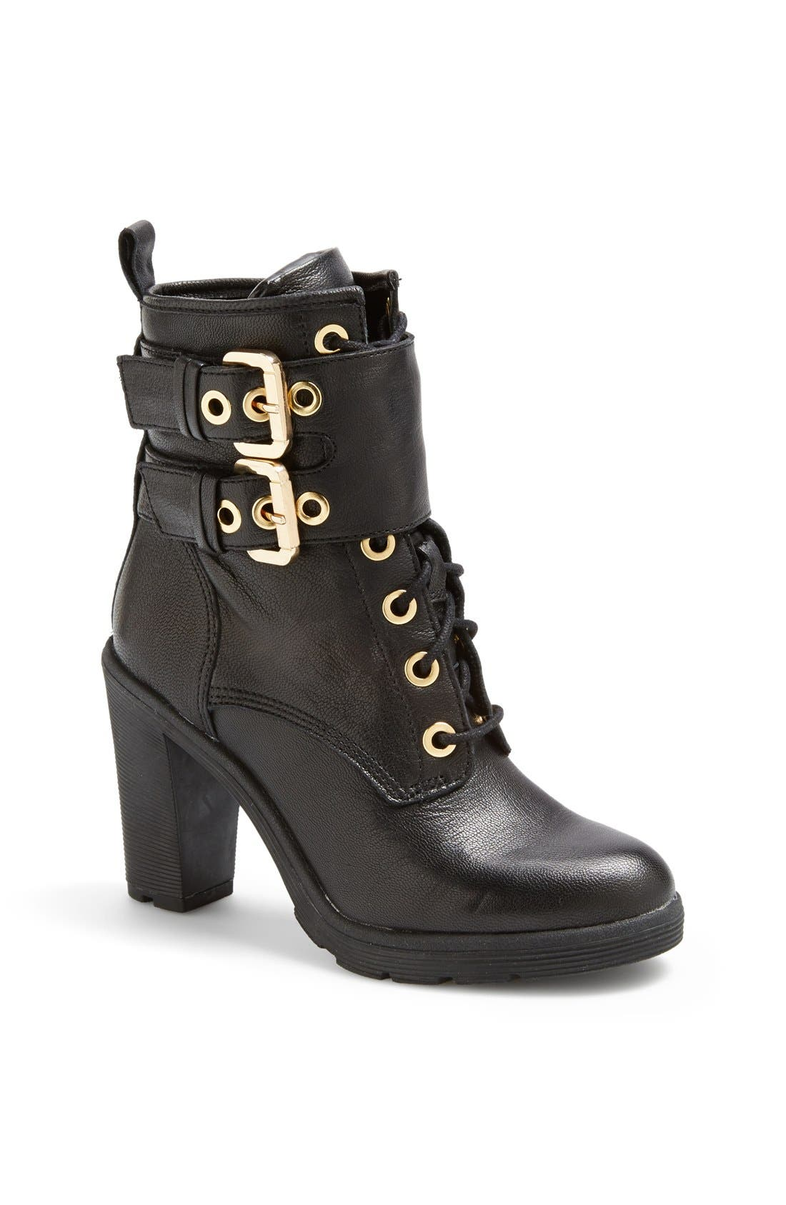 Main Image - GUESS 'Finlay' Belted Leather Bootie