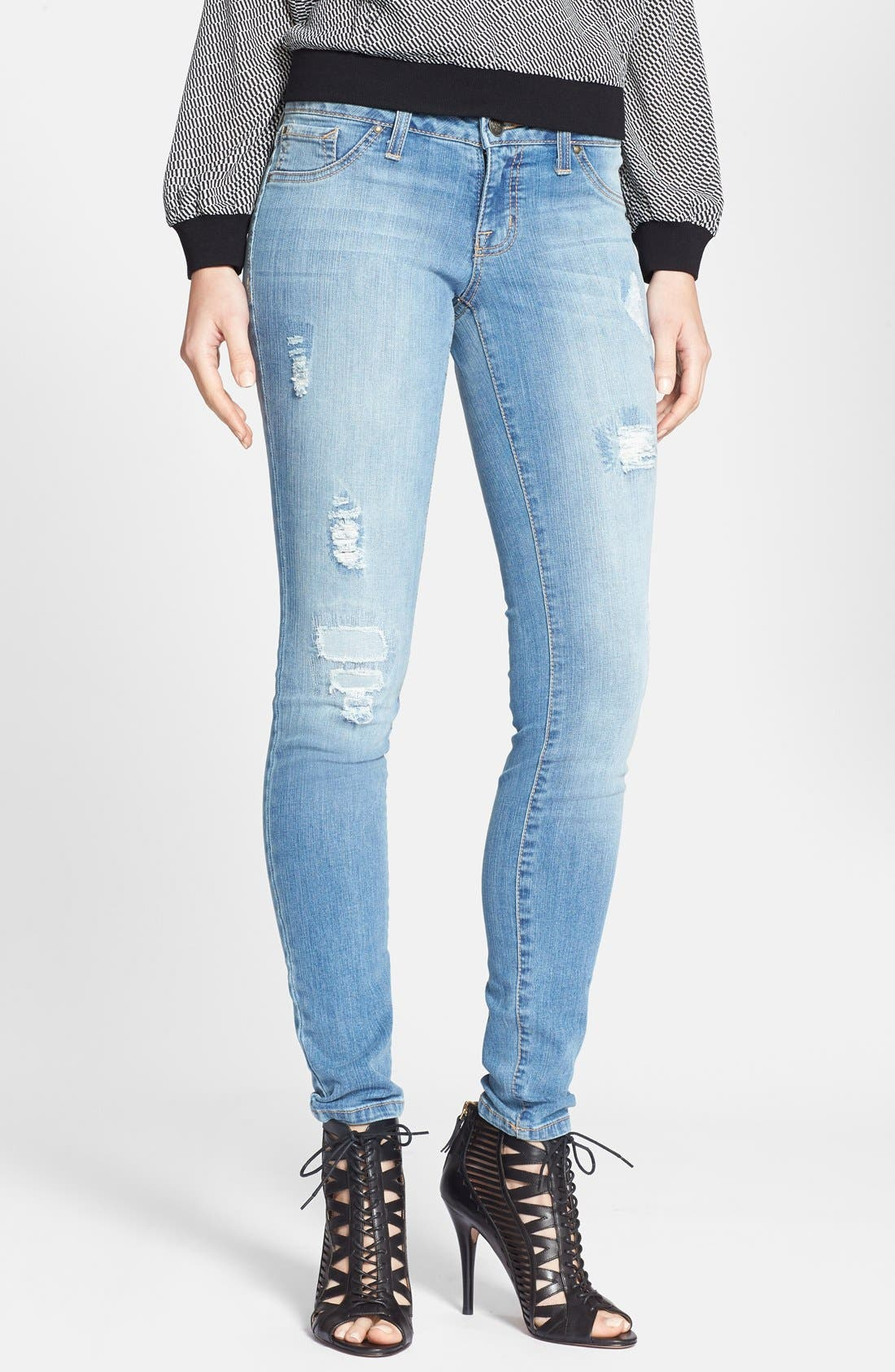 Alternate Image 1 Selected - Jessica Simpson 'Kiss Me' Deconstructed Skinny Jeans (Powder Blue/Dynamic)