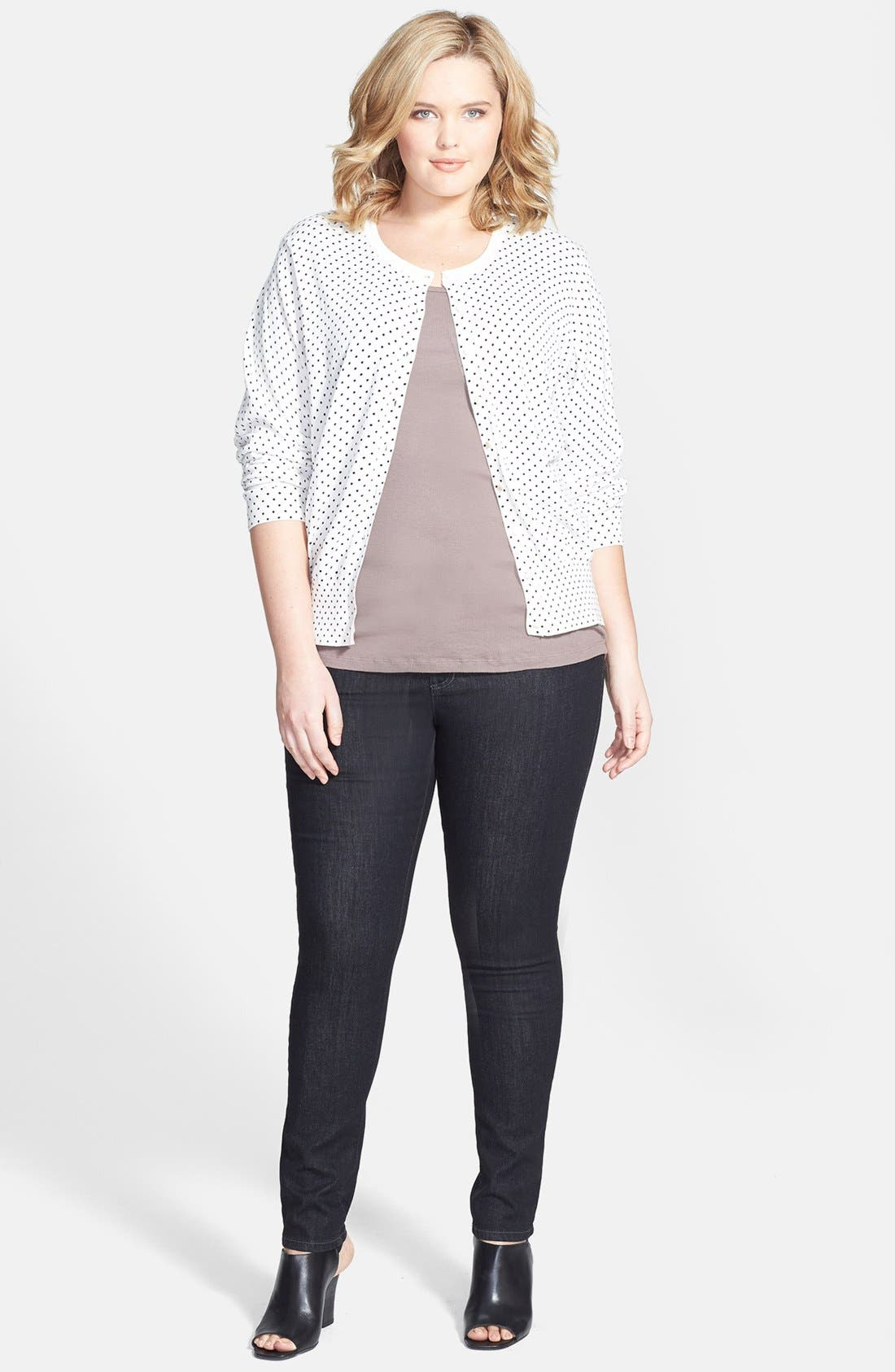 Alternate Image 4  - Foxcroft Polka Dot Button Front Cardigan (Plus Size)