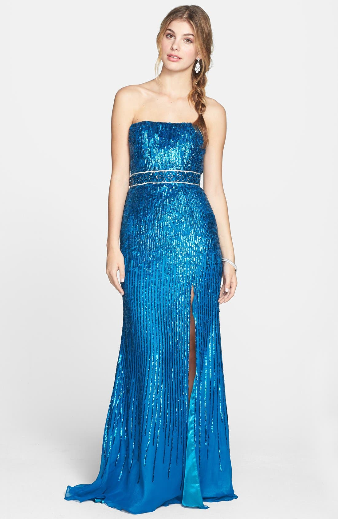 Alternate Image 1 Selected - Sherri Hill Sequin Chiffon Strapless Gown
