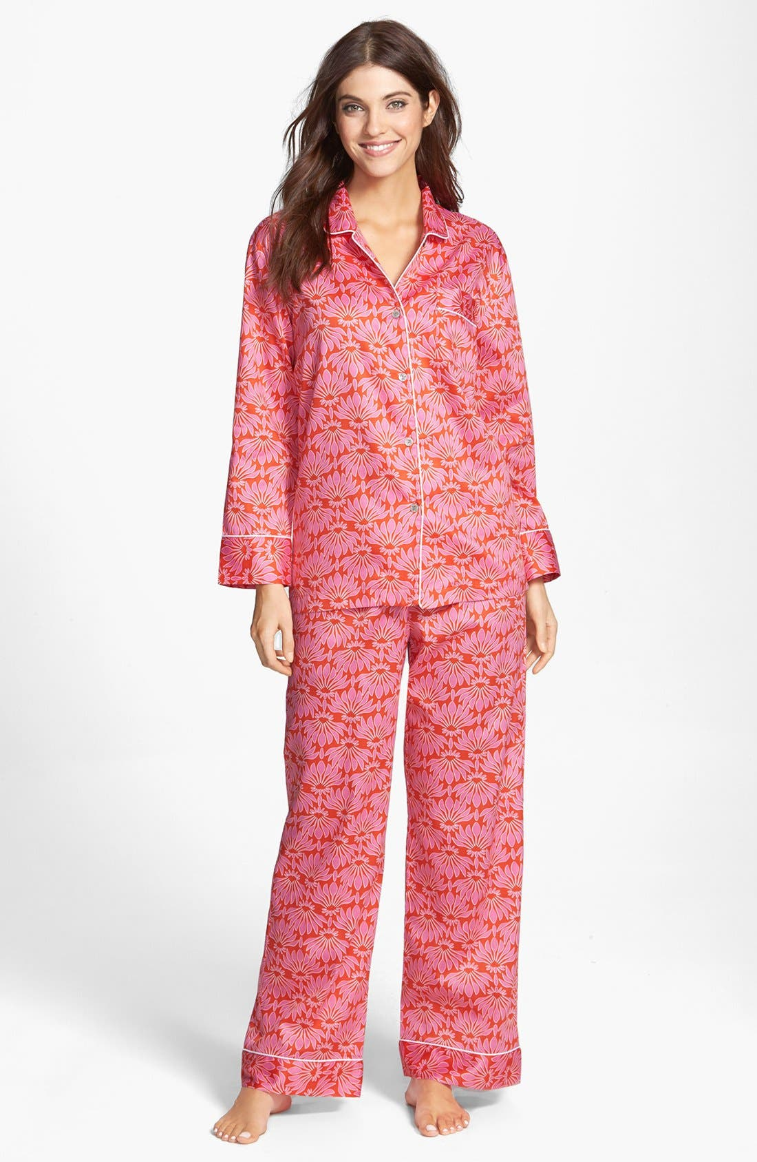 Alternate Image 1 Selected - Natori 'Fleur' Cotton Sateen Pajamas