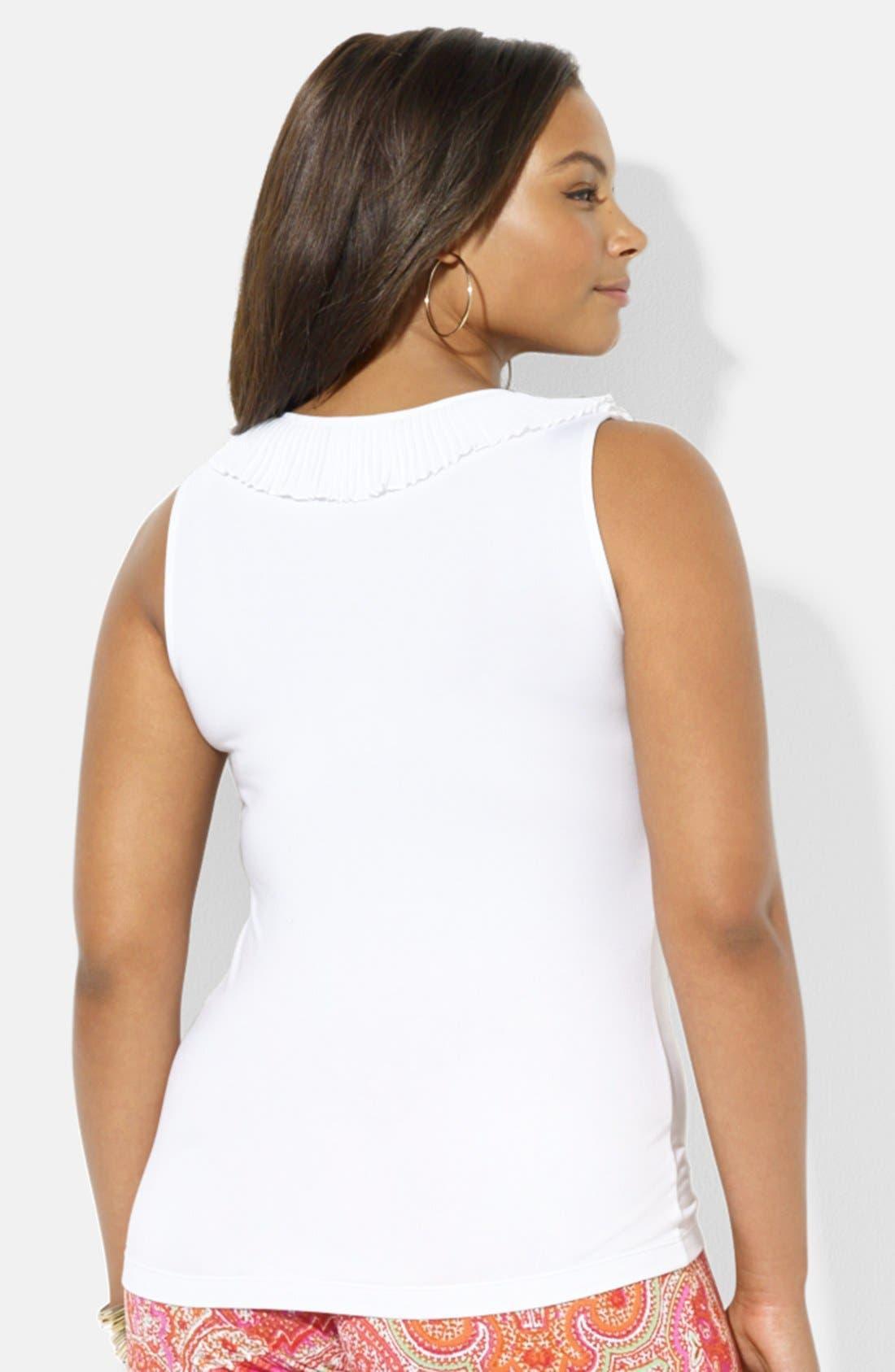 Alternate Image 2  - Lauren Ralph Lauren Ruffle V-Neck Top (Plus Size)